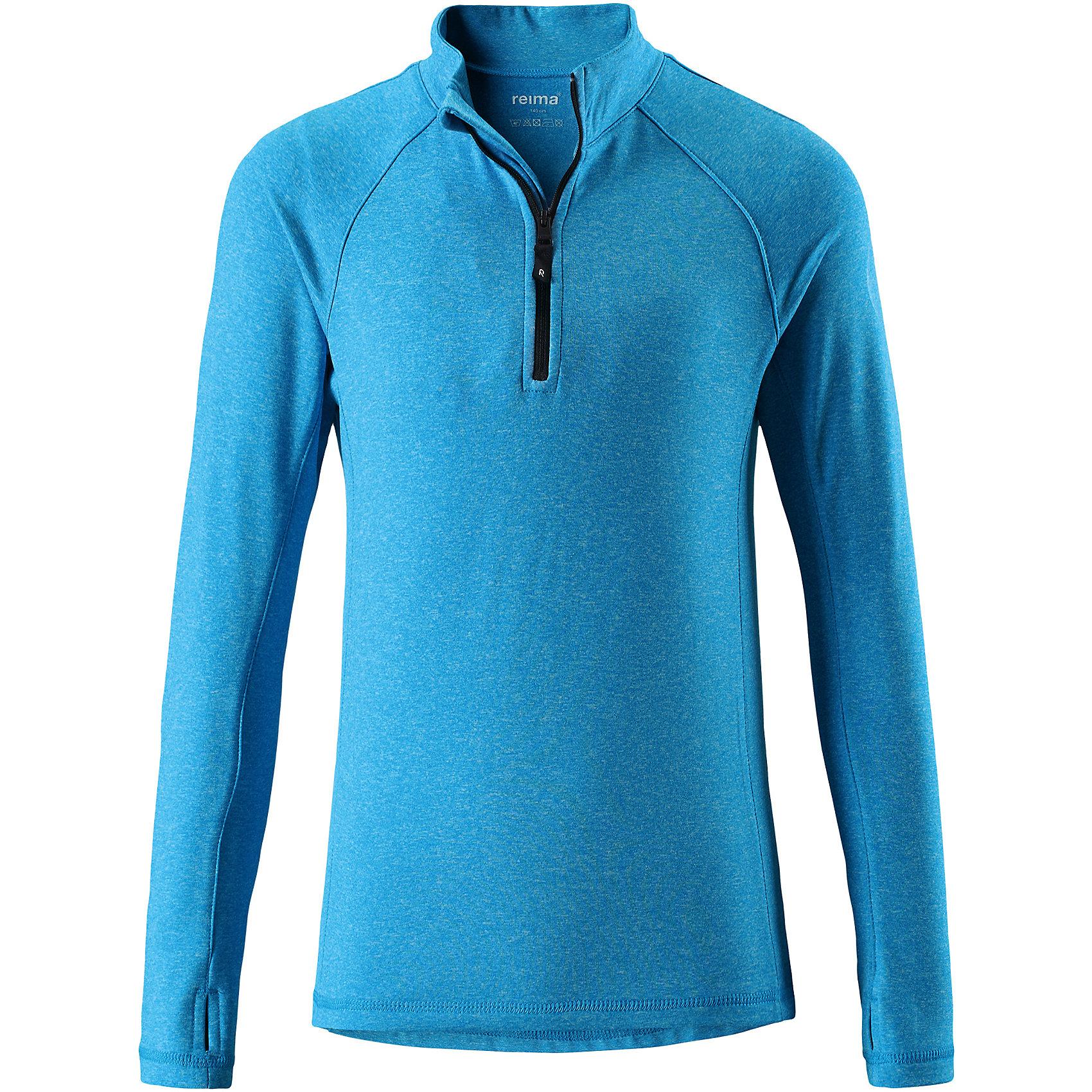 Свитер Reima Sly для мальчикаФлис и термобелье<br>Характеристики товара:<br><br>• цвет: голубой;<br>• состав: 92% полиэстер, 8% эластан; <br>• сезон: демисезон;<br>• мягкая ткань с начесом, приятная на ощупь;<br>• гладкая передняя часть;<br>• выводит влагу в верхние слои одежды;<br>• отверстие для большого пальца на манжете;<br>• молния спереди;<br>• страна бренда: Финляндия;<br>• страна изготовитель: Китай;<br><br>Популярная кофта для подростков изготовлена из мягкого эластичного меланжевого джерси с гладкой поверхностью. Изнаночная сторона с начесом очень удобная и приятная на ощупь, а удлиненная спинка обеспечивает пояснице дополнительную защиту. Этот дышащий материал отводит влагу от кожи и быстро сохнет, благодаря чему кофта стенет отличным выбором для активных прогулок. Материал имеет УФ-защиту 50+. Эта кофта для девочек снабжена молнией спереди и удобным отверстием для большого пальца на концах рукавов.<br><br>Свитер Sly для мальчика Reima (Рейма) можно купить в нашем интернет-магазине.<br><br>Ширина мм: 190<br>Глубина мм: 74<br>Высота мм: 229<br>Вес г: 236<br>Цвет: синий<br>Возраст от месяцев: 156<br>Возраст до месяцев: 168<br>Пол: Мужской<br>Возраст: Детский<br>Размер: 164,104,110,116,122,128,134,140,146,152,158<br>SKU: 6906377
