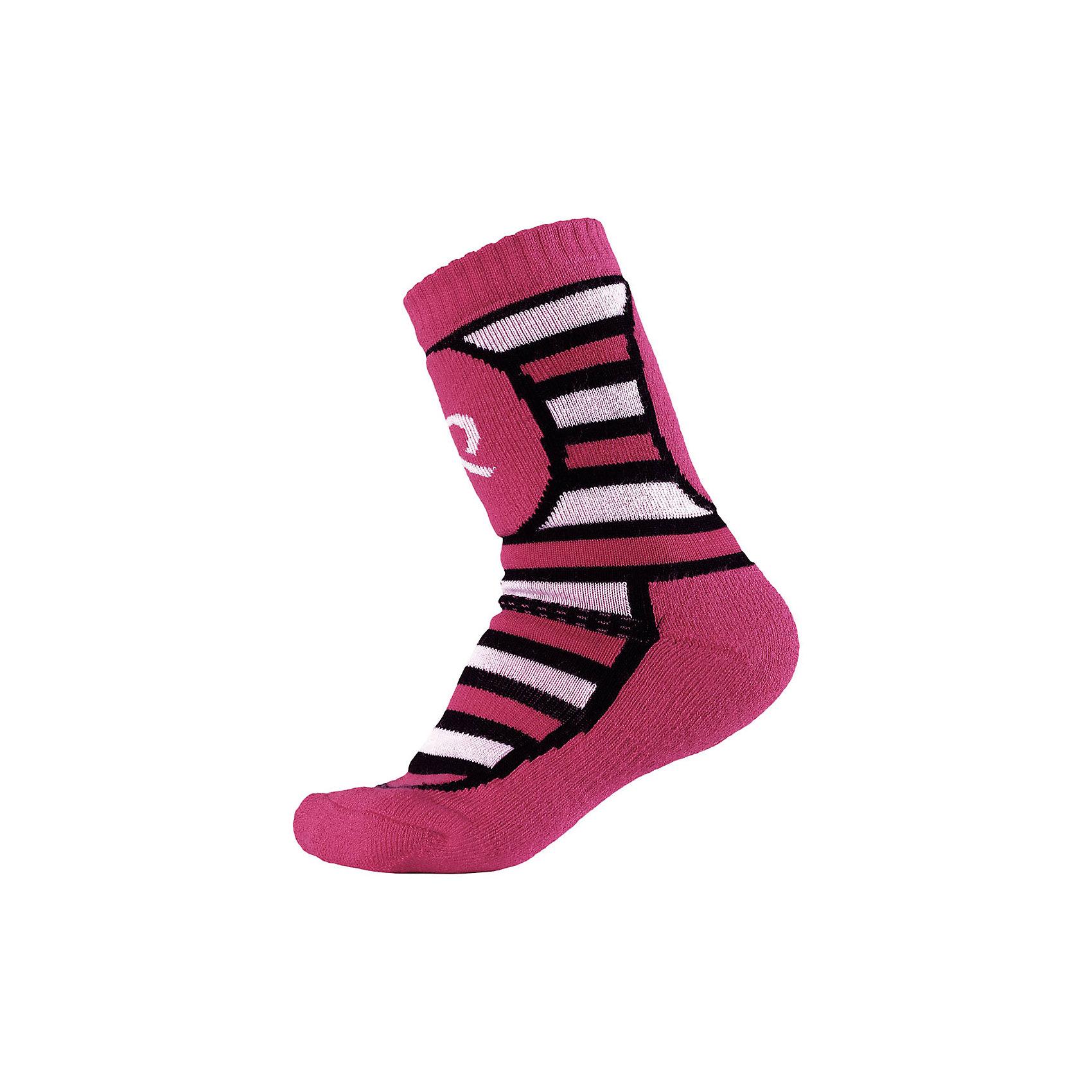 Носки Reima Stork ThermoliteНоски<br>Характеристики товара:<br><br>• цвет: розовый;<br>• состав: 40% шерсть, 36% полиэстер thermolite, 10% полиамид, 12% полиэстер, 2% эластан; <br>• сезон: зима;<br>• мягкий и теплый материал с внутренней стороны для максимального комфорта;<br>• усиленные накладки на ступнях, лодыжках и больших пальцах;<br>• быстро сохнут и сохраняют тепло;<br>• материал Thermolite для интенсивной физической активности;<br>• страна бренда: Финляндия;<br>• страна изготовитель: Китай;<br><br>Носки из шерсти Thermolite® для детей и подростков готовы к действию! Смесь шерсти и материала Thermolite® в холодную погоду гарантирует максимальный комфорт и тепло. Мериносовая шерсть согреет ножки, а Thermolite® отлично подходит для интенсивных физических нагрузок. Изнанка с мягким эластичным ворсом очень приятна на ощупь. Усиления на стопе, пятке и носке.<br><br>Носки Stork Thermolite Reima (Рейма) можно купить в нашем интернет-магазине.<br><br>Ширина мм: 87<br>Глубина мм: 10<br>Высота мм: 105<br>Вес г: 115<br>Цвет: розовый<br>Возраст от месяцев: 168<br>Возраст до месяцев: 1188<br>Пол: Унисекс<br>Возраст: Детский<br>Размер: 38-41,30-33,34-37<br>SKU: 6906560