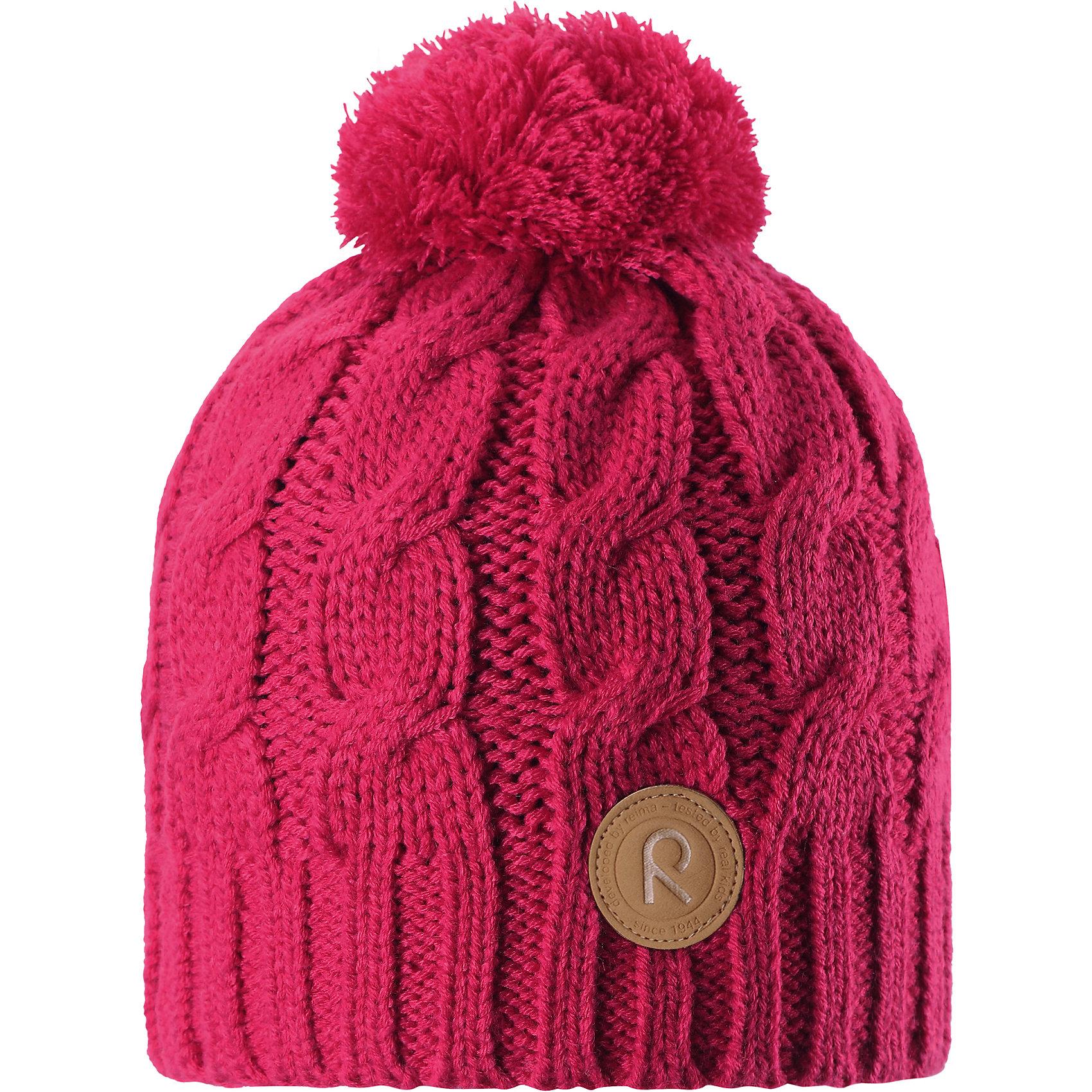 Шапка Reima LaavuГоловные уборы<br>Характеристики товара:<br><br>• цвет: розовый;<br>• состав: 100% полиакрил;<br>• подкладка: 100% полиэстер, флис;<br>• утеплитель: без дополнительного утепления;<br>• сезон: зима;<br>• температурный режим: от 0 до -20С;<br>• особенности: вязаная, с помпоном;<br>• теплый, толстый, качественный трикотаж;<br>• ветронепроницаемые вставки в области ушей;<br>• сплошная подкладка: мягкий теплый флис;<br>• светоотражающие детали;<br>• страна бренда: Финляндия;<br>• страна изготовитель: Китай.<br><br>Детская шапка связана из теплой, плотной, высококачественной пряжи. Ветронепроницаемые вставки и подкладка из мягкого и дышащего флиса. Оригинальный структурный узор и большой помпон на макушке дополняют образ.<br><br>Шапку Laavu Reima от финского бренда Reima (Рейма) можно купить в нашем интернет-магазине.<br><br>Ширина мм: 89<br>Глубина мм: 117<br>Высота мм: 44<br>Вес г: 155<br>Цвет: розовый<br>Возраст от месяцев: 84<br>Возраст до месяцев: 144<br>Пол: Унисекс<br>Возраст: Детский<br>Размер: 56,52,54<br>SKU: 6906580