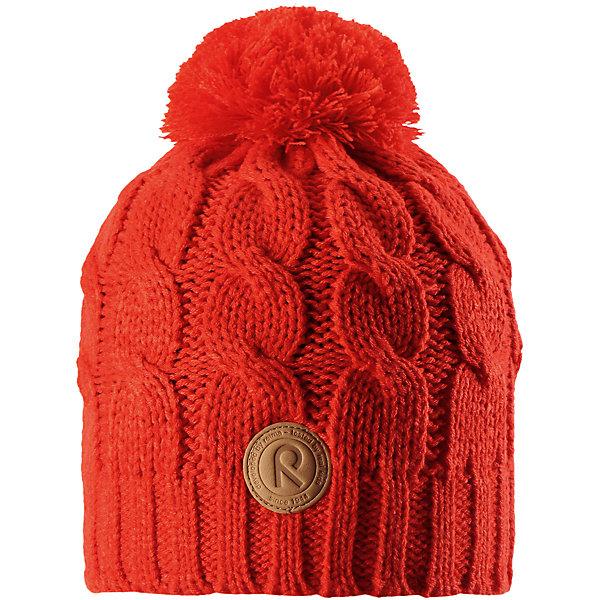 Шапка Reima Laavu для девочкиШапки и шарфы<br>Характеристики товара:<br><br>• цвет: оранжевый;<br>• состав: 100% полиакрил;<br>• подкладка: 100% полиэстер, флис;<br>• утеплитель: без дополнительного утепления;<br>• сезон: зима;<br>• температурный режим: от 0 до -20С;<br>• особенности: вязаная, с помпоном;<br>• теплый, толстый, качественный трикотаж;<br>• ветронепроницаемые вставки в области ушей;<br>• сплошная подкладка: мягкий теплый флис;<br>• светоотражающие детали;<br>• страна бренда: Финляндия;<br>• страна изготовитель: Китай.<br><br>Детская шапка связана из теплой, плотной, высококачественной пряжи. Ветронепроницаемые вставки и подкладка из мягкого и дышащего флиса. Оригинальный структурный узор и большой помпон на макушке дополняют образ.<br><br>Шапку Laavu Reima от финского бренда Reima (Рейма) можно купить в нашем интернет-магазине.<br><br>Ширина мм: 89<br>Глубина мм: 117<br>Высота мм: 44<br>Вес г: 155<br>Цвет: красный<br>Возраст от месяцев: 60<br>Возраст до месяцев: 72<br>Пол: Женский<br>Возраст: Детский<br>Размер: 52,56,54<br>SKU: 6906584