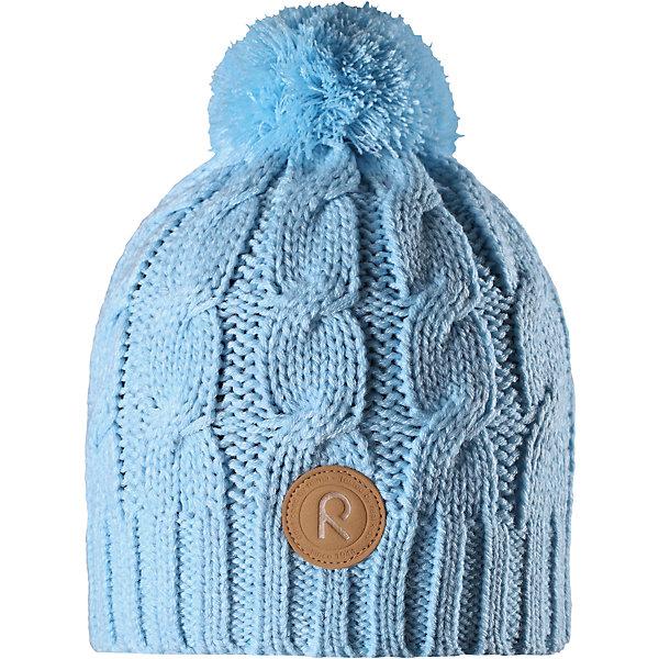Шапка Reima Laavu для девочкиШапки и шарфы<br>Характеристики товара:<br><br>• цвет: голубой;<br>• состав: 100% полиакрил;<br>• подкладка: 100% полиэстер, флис;<br>• утеплитель: без дополнительного утепления;<br>• сезон: зима;<br>• температурный режим: от 0 до -20С;<br>• особенности: вязаная, с помпоном;<br>• теплый, толстый, качественный трикотаж;<br>• ветронепроницаемые вставки в области ушей;<br>• сплошная подкладка: мягкий теплый флис;<br>• светоотражающие детали;<br>• страна бренда: Финляндия;<br>• страна изготовитель: Китай.<br><br>Детская шапка связана из теплой, плотной, высококачественной пряжи. Ветронепроницаемые вставки и подкладка из мягкого и дышащего флиса. Оригинальный структурный узор и большой помпон на макушке дополняют образ.<br><br>Шапку Laavu Reima от финского бренда Reima (Рейма) можно купить в нашем интернет-магазине.<br>Ширина мм: 89; Глубина мм: 117; Высота мм: 44; Вес г: 155; Цвет: синий; Возраст от месяцев: 60; Возраст до месяцев: 72; Пол: Женский; Возраст: Детский; Размер: 52,56,54; SKU: 6906588;