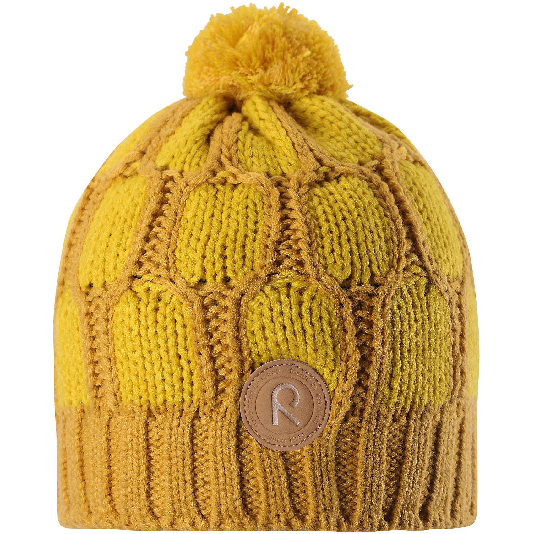 Шапка Reima LakkaГоловные уборы<br>Характеристики товара:<br><br>• цвет: желтый;<br>• состав: 100% полиакрил;<br>• подкладка: 100% полиэстер, флис;<br>• утеплитель: без дополнительного утепления;<br>• сезон: зима;<br>• температурный режим: от 0 до -20С;<br>• особенности: вязаная, с помпоном;<br>• теплый, толстый, качественный трикотаж;<br>• ветронепроницаемые вставки в области ушей;<br>• сплошная подкладка: мягкий теплый флис;<br>• светоотражающие детали;<br>• страна бренда: Финляндия;<br>• страна изготовитель: Китай.<br><br>Детская шапка связана из теплой, плотной, высококачественной пряжи. Ветронепроницаемые вставки и подкладка из мягкого и дышащего флиса. Оригинальный структурный узор и большой помпон на макушке дополняют образ.<br><br>Шапку Lakka Reima от финского бренда Reima (Рейма) можно купить в нашем интернет-магазине.<br><br>Ширина мм: 89<br>Глубина мм: 117<br>Высота мм: 44<br>Вес г: 155<br>Цвет: желтый<br>Возраст от месяцев: 84<br>Возраст до месяцев: 144<br>Пол: Унисекс<br>Возраст: Детский<br>Размер: 56,52,54<br>SKU: 6906612