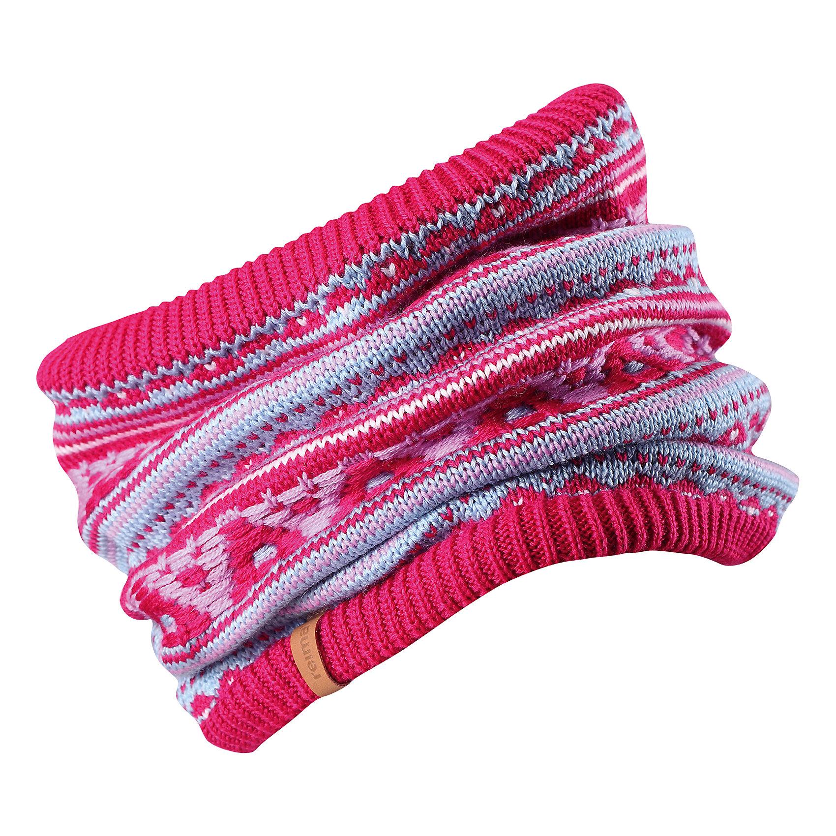 Шарф Seeds ReimaШапки и шарфы<br>Эта детская горловина, или шарф-хомут, очень удобна – просто наденьте ее на шею, и прогулка будет теплой и приятной. Шерсть – превосходный терморегулятор, а нежный флис делает подкладку очень мягкой и приятной на ощупь. Этот универсальный шарф можно надевать на голову как повязку для защиты волос и ушей или даже носить как шапку. Сплошная жаккардовая узорная вязка придаст изюминку вашему образу.<br>Состав:<br>50% Шерсть, 50% Полиакрил<br><br>Ширина мм: 88<br>Глубина мм: 155<br>Высота мм: 26<br>Вес г: 106<br>Цвет: розовый<br>Возраст от месяцев: 72<br>Возраст до месяцев: 84<br>Пол: Унисекс<br>Возраст: Детский<br>Размер: 54/56,50/52<br>SKU: 6906667