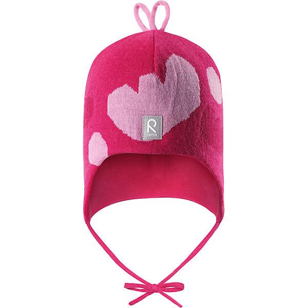 Шапка Reima Vatukka для девочкиГоловные уборы<br>Характеристики товара:<br><br>• цвет: розовый;<br>• состав: 100% шерсть;<br>• подкладка: 97% хлопок, 3% эластан;<br>• температурный режим: от 0 до -20С;<br>• сезон: зима; <br>• особенности модели: вязаная, на подкладке, на завязках;<br>• мягкая ткань из мериносовой шерсти для поддержания идеальной температуры тела;<br>• сплошная подкладка: мягкий трикотаж;<br>• ветронепроницаемые вставки в области ушей;<br>• светоотражающая эмблема;<br>• логотип Reima спереди;<br>• страна бренда: Финляндия;<br>• страна изготовитель: Китай.<br><br>Вязаная шапка на завязках для малышей из мериносовой шерсти подарит уют в морозную погоду: мягкая хлопковая подкладка обеспечит ребенку тепло и комфорт. За счет эластичной вязки шапка отлично сидит, а ветронепроницаемые вставки в области ушей защищают ушки от холодного ветра. Благодаря завязкам эта стильная шапка не съезжает и хорошо защищает голову. Бантик на макушке довершает образ.<br><br>Шапка Vatukka Reima для девочки от финского бренда Reima (Рейма) можно купить в нашем интернет-магазине.<br><br>Ширина мм: 89<br>Глубина мм: 117<br>Высота мм: 44<br>Вес г: 155<br>Цвет: розовый<br>Возраст от месяцев: 9<br>Возраст до месяцев: 12<br>Пол: Женский<br>Возраст: Детский<br>Размер: 46,52,50,48<br>SKU: 6907061
