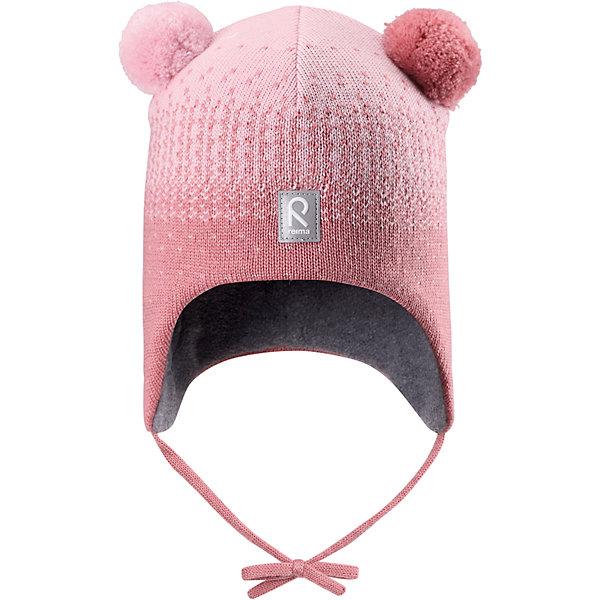 Шапка Reima Sammal для девочкиШапочки<br>Характеристики товара:<br><br>• цвет: розовый;<br>• состав: 100% шерсть;<br>• подкладка: 97% хлопок, 3% эластан;<br>• температурный режим: от 0 до -20С;<br>• сезон: зима; <br>• особенности модели: вязаная, шерстяная;<br>• мягкая ткань из мериносовой шерсти для поддержания идеальной температуры;<br>• ветронепроницаемые вставки в области ушей;<br>• сплошная подкладка: гладкий хлопковый трикотаж;<br>• шапка на завязках, сверху два милых помпона;<br>• логотип Reima спереди;<br>• страна бренда: Финляндия;<br>• страна изготовитель: Китай.<br><br>Шерстяная шапка для малышей в восхитительных расцветках надежно согреет в холодный зимний день! Эта шапка для малышей из мериносовой шерсти подарит уют в морозную погоду: мягкая хлопковая подкладка обеспечит ребенку тепло и комфорт. За счет эластичной вязки шапка отлично сидит, а ветронепроницаемые вставки в области ушей защищают ушки от холодного ветра. Благодаря завязкам, эта стильная шапка не съезжает и хорошо защищает голову. Симпатичные помпоны на макушке довершает образ!<br><br>Шапку Sammal Reima от финского бренда Reima (Рейма) можно купить в нашем интернет-магазине.<br><br>Ширина мм: 89<br>Глубина мм: 117<br>Высота мм: 44<br>Вес г: 155<br>Цвет: розовый<br>Возраст от месяцев: 9<br>Возраст до месяцев: 12<br>Пол: Женский<br>Возраст: Детский<br>Размер: 46,52,50,48<br>SKU: 6907096