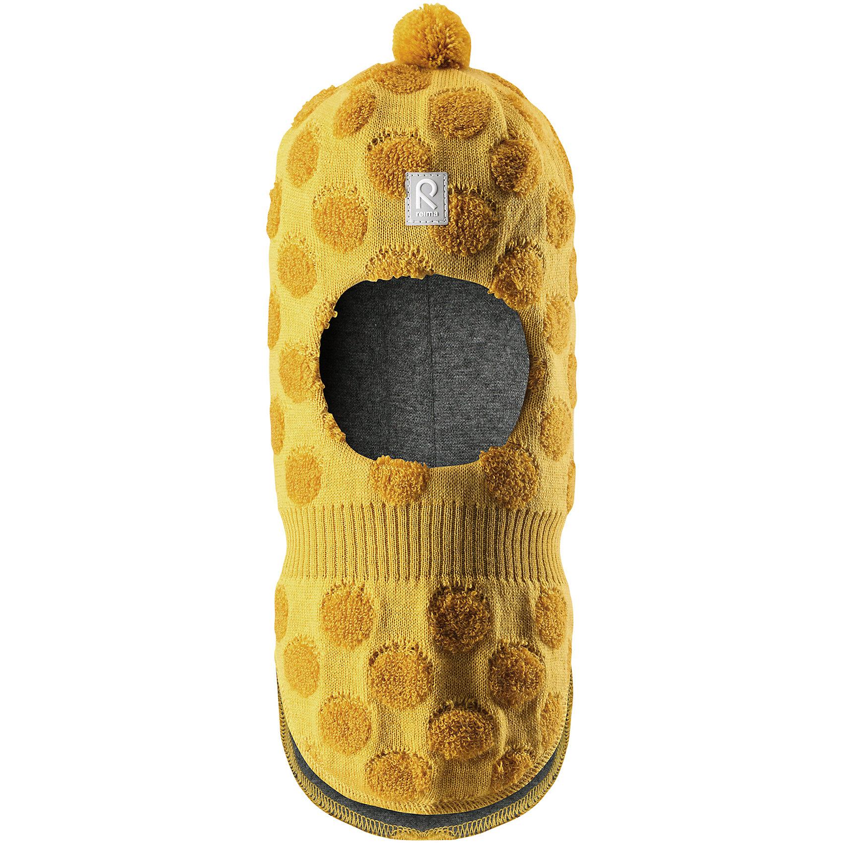 Шапка-шлем Reima SallaГоловные уборы<br>Характеристики товара:<br><br>• цвет: желтый;<br>• состав: 50% шерсть, 50% полиакрил;<br>• подкладка: 97% хлопок, 3% эластан;<br>• температурный режим: от 0 до -20С;<br>• сезон: зима; <br>• особенности модели: вязаная, шерстяная;<br>• шерсть идеально поддерживает температуру;<br>• ветронепроницаемые вставки в области ушей;<br>• сплошная подкладка: гладкий хлопковый трикотаж;<br>• декоративный помпон сверху;<br>• логотип Reima спереди;<br>• страна бренда: Финляндия;<br>• страна изготовитель: Китай.<br><br>Веселая шерстяная шапка-шлем с хлопковой подкладкой согреет в холода, а ветронепроницаемые вставки защитят ушки от ветра. Маленький помпон и симпатичный рисунок в шарики отлично подойдет маленьким любителям прогулок на свежем воздухе!<br><br>Шапку-шлем Salla Reima от финского бренда Reima (Рейма) можно купить в нашем интернет-магазине.<br><br>Ширина мм: 89<br>Глубина мм: 117<br>Высота мм: 44<br>Вес г: 155<br>Цвет: желтый<br>Возраст от месяцев: 60<br>Возраст до месяцев: 72<br>Пол: Унисекс<br>Возраст: Детский<br>Размер: 52,48,46,50<br>SKU: 6907161