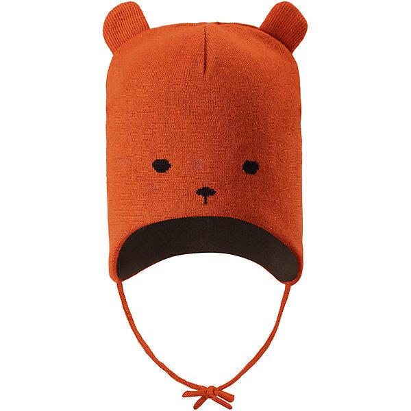 Шапка Reima Hukkanen для мальчикаШапки и шарфы<br>Характеристики товара:<br><br>• цвет: оранжевый;<br>• состав: 50% шерсть, 50% полиакрил;<br>• подкладка: 100% полиэстер, флис;<br>• температурный режим: от 0 до -20С;<br>• сезон: зима; <br>• особенности модели: вязаная, шерстяная;<br>• шерсть идеально поддерживает температуру;<br>• ветронепроницаемые вставки в области ушей;<br>• сплошная подкладка: мягкий теплый флис;<br>• шапка на завязках, сверху декоративные ушки;<br>• логотип Reima сзади;<br>• страна бренда: Финляндия;<br>• страна изготовитель: Китай.<br><br>Два в одном – красиво и тепло! Эта шапка из мягкой полушерсти с флисовой подкладкой надежно согреет в холодные зимние дни. Флис – очень приятный на ощупь материал, отводящий влагу с кожи. Ветронепроницаемые вставки защищают ушки от ветра, а завязки не дадут шапке сбиваться. <br><br>Шапку Hukkanen Reima от финского бренда Reima (Рейма) можно купить в нашем интернет-магазине.<br><br>Ширина мм: 89<br>Глубина мм: 117<br>Высота мм: 44<br>Вес г: 155<br>Цвет: оранжевый<br>Возраст от месяцев: 9<br>Возраст до месяцев: 12<br>Пол: Мужской<br>Возраст: Детский<br>Размер: 46,52,50,48<br>SKU: 6907186