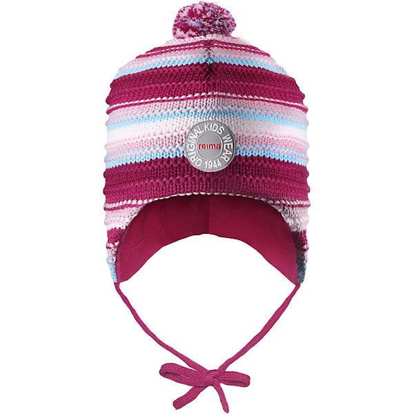 Шапка Reima Kumpu для девочкиШапки и шарфы<br>Характеристики товара:<br><br>• цвет: розовый;<br>• состав: 100% шерсть;<br>• подкладка: 100% полиэстер, флис;<br>• температурный режим: от 0 до -20С;<br>• сезон: зима; <br>• особенности модели: вязаная, шерстяная;<br>• шерсть идеально поддерживает температуру;<br>• ветронепроницаемые вставки в области ушей;<br>• сплошная подкладка: мягкий теплый флис;<br>• шапка на завязках, сверху помпон;<br>• логотип Reima спереди;<br>• страна бренда: Финляндия;<br>• страна изготовитель: Китай.<br><br>Эта шапка из мериносовой шерсти подарит уют в морозную погоду: мягкая подкладка из флиса обеспечит ребенку тепло и комфорт. Шерстяная шапка с флисовой подкладкой идеально подходит для маленьких любителей приключений на свежем воздухе, ведь флис быстро сохнет и выводит влагу. За счет эластичной вязки шапка отлично сидит, а ветронепроницаемые вставки в области ушей защищают ушки от холодного ветра. Благодаря завязкам, эта стильная шапка не съезжает и хорошо защищает голову. Создайте стильный теплый образ: сочетайте шапку с горловиной Star!<br><br>Шапку Kumpu Reima от финского бренда Reima (Рейма) можно купить в нашем интернет-магазине.<br>Ширина мм: 89; Глубина мм: 117; Высота мм: 44; Вес г: 155; Цвет: розовый; Возраст от месяцев: 9; Возраст до месяцев: 12; Пол: Женский; Возраст: Детский; Размер: 46,52,50,48; SKU: 6907226;