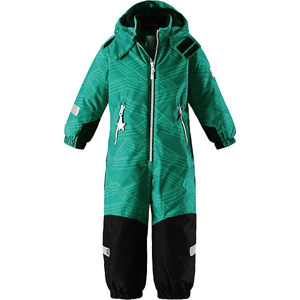 Комбинезон Reimatec® Reima Snowy для мальчикаВерхняя одежда<br>Характеристики товара:<br><br>• цвет: зеленый;<br>• состав: 100% полиэстер;<br>• подкладка: 100% полиэстер;<br>• утеплитель: 160 г/м2<br>• температурный режим: от 0 до -20С;<br>• сезон: зима; <br>• водонепроницаемость: 8000/10000 мм;<br>• воздухопроницаемость: 7000/5000 мм;<br>• износостойкость: 30000/50000 циклов (тест Мартиндейла);<br>• водо- и ветронепроницаемый, дышащий и грязеотталкивающий материал;<br>• все швы проклеены и водонепроницаемы;<br>• прочные усиленные вставки внизу, на коленях и снизу на ногах;<br>• гладкая подкладка из полиэстера;<br>• мягкая резинка на кромке капюшона и манжетах;<br>• застежка: молния с защитой подбородка;<br>• безопасный съемный капюшон на кнопках;<br>• внутренняя регулировка обхвата талии;<br>• прочные съемные силиконовые штрипки;<br>• два кармана на молнии;<br>• светоотражающие детали;<br>• страна бренда: Финляндия;<br>• страна изготовитель: Китай.<br><br>Зимний комбинезон на молнии изготовлен из водо и ветронепроницаемого материала с водо и грязеотталкивающей поверхностью. Все швы проклеены, водонепроницаемы. Комбинезон снабжен прочными усилениями на задней части, коленях и концах брючин. В этом комбинезоне прямого кроя талия при необходимости легко регулируется, что позволяет подогнать комбинезон точно по фигуре. <br><br>Съемный капюшон защищает от пронизывающего ветра, а еще он безопасен во время игр на свежем воздухе. Кнопки легко отстегиваются, если капюшон случайно за что-нибудь зацепится. Силиконовые штрипки не дают концам брючин задираться, бегай сколько хочешь! Образ довершают мягкая резинка по краю капюшона и на манжетах, два кармана на молнии и светоотражающие детали. <br><br>Комбинезон Snowy Reimatec® Reima от финского бренда Reima (Рейма) можно купить в нашем интернет-магазине.<br><br>Ширина мм: 356<br>Глубина мм: 10<br>Высота мм: 245<br>Вес г: 519<br>Цвет: зеленый<br>Возраст от месяцев: 18<br>Возраст до месяцев: 24<br>Пол: Мужской<br>Возраст: Детский<