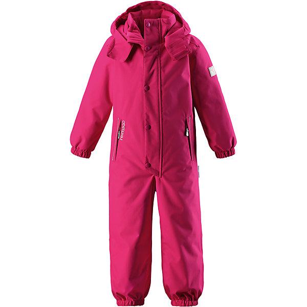 Комбинезон Reimatec® Reima Kuusamo для девочкиОдежда<br>Характеристики товара:<br><br>• цвет: розовый;<br>• состав: 100% полиэстер;<br>• подкладка: 100% полиэстер;<br>• утеплитель: 160 г/м2<br>• температурный режим: от 0 до -20С;<br>• сезон: зима; <br>• водонепроницаемость: 12000 мм;<br>• воздухопроницаемость: 8000 мм;<br>• износостойкость: 80000 циклов (тест Мартиндейла);<br>• водо- и ветронепроницаемый, дышащий и грязеотталкивающий материал;<br>• все швы проклеены и водонепроницаемы;<br>• гладкая подкладка из полиэстера;<br>• эластичные манжеты и пояс сзади;<br>• застежка: молния с защитой подбородка;<br>• безопасный съемный  и регулируемый капюшон на кнопках;<br>• регулируемая длина брюк с помощью кнопок;<br>• внутренняя регулировка обхвата талии;<br>• прочные съемные силиконовые штрипки;<br>• два кармана на молнии;<br>• кармана с креплением для сенсора ReimaGO®;<br>• светоотражающие детали;<br>• страна бренда: Финляндия;<br>• страна изготовитель: Китай.<br><br>Абсолютно непромокаемый детский зимний комбинезон Reimatec® с полностью проклеенными швами. Этот практичный комбинезон изготовлен из ветронепроницаемого и дышащего материала, поэтому вашему ребенку будет тепло и сухо, к тому же он не вспотеет. Комбинезон снабжен гладкой подкладкой из полиэстера. В этом комбинезоне прямого кроя талия при необходимости легко регулируется, что позволяет подогнать комбинезон точно по фигуре. А еще он снабжен эластичными манжетами на рукавах и концах брючин, которые регулируются застежкой на кнопках. <br><br>Съемный и регулируемый капюшон защищает от пронизывающего ветра, а еще он безопасен во время игр на свежем воздухе. Кнопки легко отстегиваются, если капюшон случайно за что-нибудь зацепится. Съемные и регулируемые силиконовые штрипки не дают концам брючин выбиваться из обуви, бегай сколько хочешь! Два кармана на молнии и специальный карман с кнопками для сенсора ReimaGO®. Материал имеет грязеотталкивающую поверхность, и при этом его можно сушить в сушильной машине. Светоотр