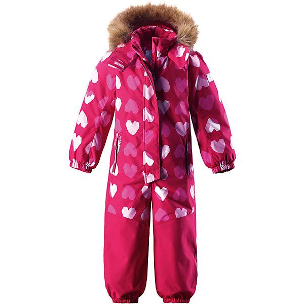 Комбинезон Reimatec® Reima Oulu для девочкиОдежда<br>Характеристики товара:<br><br>• цвет: розовый;<br>• состав: 100% полиэстер;<br>• подкладка: 100% полиэстер;<br>• утеплитель: 160 г/м2<br>• температурный режим: от 0 до -20С;<br>• сезон: зима; <br>• водонепроницаемость: 15000/12000 мм;<br>• воздухопроницаемость: 8000/7000 мм;<br>• износостойкость: 40000/80000 циклов (тест Мартиндейла);<br>• водо- и ветронепроницаемый, дышащий и грязеотталкивающий материал;<br>• прочные усиленные вставки внизу, на коленях и снизу на ногах;<br>• все швы проклеены и водонепроницаемы;<br>• гладкая подкладка из полиэстера;<br>• эластичные манжеты;<br>• застежка: молния с защитой подбородка;<br>• безопасный съемный капюшон на кнопках;<br>• съемный искусственный мех на капюшоне;<br>• регулируемая длина брюк с помощью кнопок;<br>• внутренняя регулировка обхвата талии;<br>• прочные съемные силиконовые штрипки;<br>• два кармана на молнии;<br>• кармана с креплением для сенсора ReimaGO®;<br>• светоотражающие детали;<br>• страна бренда: Финляндия;<br>• страна изготовитель: Китай.<br><br>Непромокаемый и прочный детский зимний комбинезон Reimatec® с полностью проклеенными швами. Суперпрочные усиления на задней части, коленях и концах брючин. Этот практичный комбинезон изготовлен из ветронепроницаемого и дышащего материала. Комбинезон снабжен гладкой подкладкой из полиэстера. <br><br>В этом комбинезоне талия легко регулируется, что позволяет подогнать комбинезон точно по фигуре. А еще он снабжен эластичными манжетами на рукавах и концах брючин, которые регулируются застежкой на кнопках. Внутри комбинезона имеются удобные подтяжки, благодаря которым дети могут снять верхнюю часть. Подтяжки поддерживают верхнюю часть на бедрах, обеспечивая комфорт при входе в помещение и не позволяя комбинезону тащится по полу. <br><br>Съемный капюшон защищает от пронизывающего ветра, а еще он безопасен во время игр на свежем воздухе. Снабжен мягкой съемной оторочкой из искусственного меха. Кнопки легко отстегиваютс
