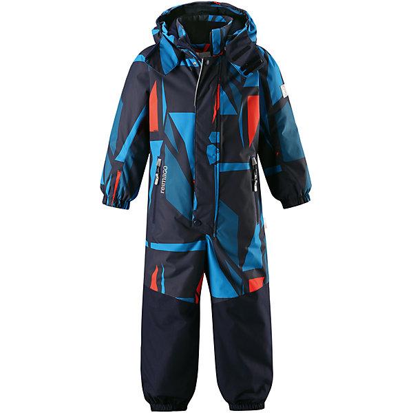Комбинезон Tornio Reimatec® Reima для мальчикаОдежда<br>Характеристики товара:<br><br>• цвет: синий;<br>• состав: 100% полиэстер;<br>• утеплитель: 160 г/м2;<br>• сезон: зима;<br>• температурный режим: от 0 до -20С;<br>• водонепроницаемость: 15000/12000 мм;<br>• воздухопроницаемость: 7000/8000 мм;<br>• износостойкость: 35000/80000 циклов (тест Мартиндейла);<br>• водо и ветронепроницаемый, дышащий и грязеотталкивающий материал;<br>• все швы проклеены и водонепроницаемы;<br>• прочные усиленные вставки сзади, на коленях и снизу на ногах;<br>• застежка: молния с дополнительной планкой на кнопках;<br>• защита подбородка от защемления;<br>• гладкая подкладка из полиэстера;<br>• безопасный, съемный и регулируемый капюшон;<br>• эластичные манжеты;<br>• внутренняя регулировка обхвата талии;<br>• эластичный пояс сзади;<br>• длина брюк регулируется с помощью кнопок;<br>• прочные съемные силиконовые штрипки;<br>• два кармана на молнии;<br>• карман с креплением для сенсора ReimaGO;<br>• светоотражающие элементы;<br>• страна бренда: Финляндия;<br>• страна производства: Китай.<br><br>Зимний непромокаемый комбинезон Reimatec® с полностью проклеенными швами. Суперпрочные усиления на задней части, коленях и концах брючин. Комбинезон снабжен гладкой подкладкой из полиэстера, талия при необходимости легко регулируется, что позволяет подогнать комбинезон точно по фигуре. А еще он снабжен эластичным пояском сзади, эластичными манжетами на рукавах и концах брючин, которые регулируются застежкой на кнопках. <br><br>Съемный и регулируемый капюшон защищает от пронизывающего ветра, а еще он безопасен во время игр на свежем воздухе. Кнопки легко отстегиваются, если капюшон случайно за что-нибудь зацепится. Съемные силиконовые штрипки не дают концам брючин задираться. Два кармана на молнии и специальный карман для сенсора ReimaGO®. Материал имеет грязеотталкивающую поверхность, и при этом его можно сушить в сушильной машине.<br><br>Комбинезон Tornio Reimatec® Reima (Рейма) можно купить в нашем и