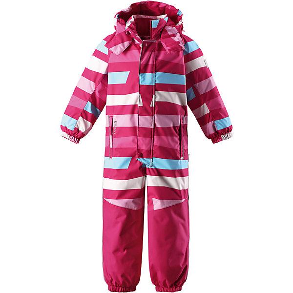 Комбинезон Reimatec® Reima Otsamo для девочкиВерхняя одежда<br>Характеристики товара:<br><br>• цвет: розовый;<br>• состав: 100% полиэстер;<br>• подкладка: 100% полиэстер;<br>• утеплитель: 160 г/м2<br>• температурный режим: от 0 до -20С;<br>• сезон: зима; <br>• водонепроницаемость: 15000/12000 мм;<br>• воздухопроницаемость: 7000/8000 мм;<br>• износостойкость: 35000/80000 циклов (тест Мартиндейла);<br>• водо- и ветронепроницаемый, дышащий и грязеотталкивающий материал;<br>• прочные усиленные вставки внизу, на коленях и снизу на ногах;<br>• все швы проклеены и водонепроницаемы;<br>• гладкая подкладка из полиэстера;<br>• эластичные манжеты и пояс сзади;<br>• застежка: молния с защитой подбородка;<br>• безопасный съемный и регулируемый капюшон на кнопках;<br>• внутренняя регулировка обхвата талии;<br>• регулируемая длина брюк с помощью кнопок;<br>• прочные съемные силиконовые штрипки;<br>• два кармана на молнии;<br>• кармана с креплением для сенсора ReimaGO®;<br>• светоотражающие детали;<br>• страна бренда: Финляндия;<br>• страна изготовитель: Китай.<br><br>Непромокаемый и прочный детский зимний комбинезон Reimatec® с полностью проклеенными швами. Суперпрочные усиления на задней части, коленях и концах брючин. Этот практичный комбинезон изготовлен из ветронепроницаемого и дышащего материала. Комбинезон снабжен гладкой подкладкой из полиэстера. <br><br>В этом комбинезоне прямого кроя талия легко регулируется, что позволяет подогнать комбинезон точно по фигуре. А еще он снабжен эластичными манжетами на рукавах и концах брючин, которые регулируются застежкой на кнопках. Внутри комбинезона имеются удобные подтяжки, благодаря которым дети могут снять верхнюю часть. Подтяжки поддерживают верхнюю часть на бедрах, обеспечивая комфорт при входе в помещение и не позволяя комбинезону тащится по полу. <br><br>Съемный и регулируемый капюшон защищает от пронизывающего ветра, а еще он безопасен во время игр на свежем воздухе. Кнопки легко отстегиваются, если капюшон случайно за что-ниб