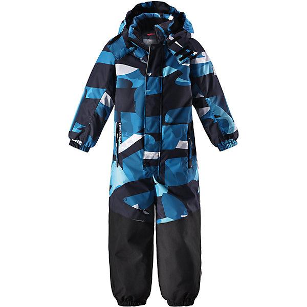 Комбинезон Reimatec® Reima Otsamo для мальчикаОдежда<br>Характеристики товара:<br><br>• цвет: синий;<br>• состав: 100% полиэстер;<br>• подкладка: 100% полиэстер;<br>• утеплитель: 160 г/м2<br>• температурный режим: от 0 до -20С;<br>• сезон: зима; <br>• водонепроницаемость: 15000/12000 мм;<br>• воздухопроницаемость: 7000/8000 мм;<br>• износостойкость: 35000/80000 циклов (тест Мартиндейла);<br>• водо- и ветронепроницаемый, дышащий и грязеотталкивающий материал;<br>• прочные усиленные вставки внизу, на коленях и снизу на ногах;<br>• все швы проклеены и водонепроницаемы;<br>• гладкая подкладка из полиэстера;<br>• эластичные манжеты и пояс сзади;<br>• застежка: молния с защитой подбородка;<br>• безопасный съемный и регулируемый капюшон на кнопках;<br>• внутренняя регулировка обхвата талии;<br>• регулируемая длина брюк с помощью кнопок;<br>• прочные съемные силиконовые штрипки;<br>• два кармана на молнии;<br>• кармана с креплением для сенсора ReimaGO®;<br>• светоотражающие детали;<br>• страна бренда: Финляндия;<br>• страна изготовитель: Китай.<br><br>Непромокаемый и прочный детский зимний комбинезон Reimatec® с полностью проклеенными швами. Суперпрочные усиления на задней части, коленях и концах брючин. Этот практичный комбинезон изготовлен из ветронепроницаемого и дышащего материала. Комбинезон снабжен гладкой подкладкой из полиэстера. <br><br>В этом комбинезоне прямого кроя талия легко регулируется, что позволяет подогнать комбинезон точно по фигуре. А еще он снабжен эластичными манжетами на рукавах и концах брючин, которые регулируются застежкой на кнопках.<br><br>Съемный и регулируемый капюшон защищает от пронизывающего ветра, а еще он безопасен во время игр на свежем воздухе. Кнопки легко отстегиваются, если капюшон случайно за что-нибудь зацепится. Съемные силиконовые штрипки не дают концам брючин задираться, бегай сколько хочешь! Два кармана на молнии и специальный карман для сенсора ReimaGO®. Светоотражающие детали довершают образ.<br><br>Комбинезон Otsamo Reimatec