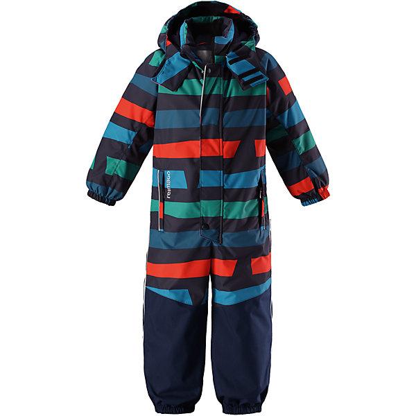 Комбинезон Reimatec® Reima Otsamo для мальчикаВерхняя одежда<br>Характеристики товара:<br><br>• цвет: мульти;<br>• состав: 100% полиэстер;<br>• подкладка: 100% полиэстер;<br>• утеплитель: 160 г/м2<br>• температурный режим: от 0 до -20С;<br>• сезон: зима; <br>• водонепроницаемость: 15000/12000 мм;<br>• воздухопроницаемость: 7000/8000 мм;<br>• износостойкость: 35000/80000 циклов (тест Мартиндейла);<br>• водо- и ветронепроницаемый, дышащий и грязеотталкивающий материал;<br>• прочные усиленные вставки внизу, на коленях и снизу на ногах;<br>• все швы проклеены и водонепроницаемы;<br>• гладкая подкладка из полиэстера;<br>• эластичные манжеты и пояс сзади;<br>• застежка: молния с защитой подбородка;<br>• безопасный съемный и регулируемый капюшон на кнопках;<br>• внутренняя регулировка обхвата талии;<br>• регулируемая длина брюк с помощью кнопок;<br>• прочные съемные силиконовые штрипки;<br>• два кармана на молнии;<br>• кармана с креплением для сенсора ReimaGO®;<br>• светоотражающие детали;<br>• страна бренда: Финляндия;<br>• страна изготовитель: Китай.<br><br>Непромокаемый и прочный детский зимний комбинезон Reimatec® с полностью проклеенными швами. Суперпрочные усиления на задней части, коленях и концах брючин. Этот практичный комбинезон изготовлен из ветронепроницаемого и дышащего материала. Комбинезон снабжен гладкой подкладкой из полиэстера. <br><br>В этом комбинезоне прямого кроя талия легко регулируется, что позволяет подогнать комбинезон точно по фигуре. А еще он снабжен эластичными манжетами на рукавах и концах брючин, которые регулируются застежкой на кнопках. <br><br>Съемный и регулируемый капюшон защищает от пронизывающего ветра, а еще он безопасен во время игр на свежем воздухе. Кнопки легко отстегиваются, если капюшон случайно за что-нибудь зацепится. Съемные силиконовые штрипки не дают концам брючин задираться, бегай сколько хочешь! Два кармана на молнии и специальный карман для сенсора ReimaGO®. Светоотражающие детали довершают образ.<br><br>Комбинезон Otsam