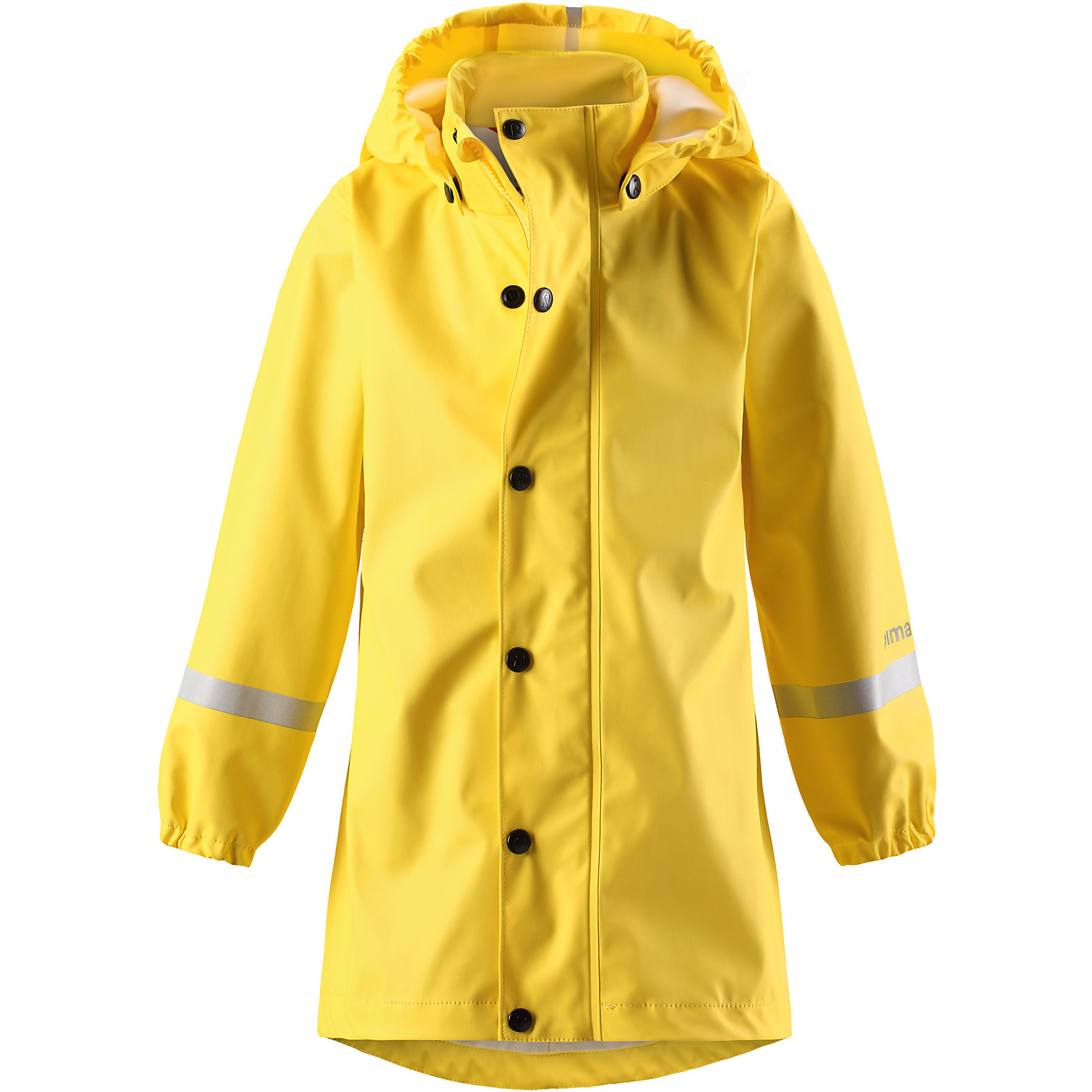 Плащ-дождевик Reima Vatten для девочкиОдежда<br>Характеристики товара:<br><br>• цвет: желтый;<br>• состав: 100% полиэстер;<br>• подкладка: 100% полиэстер;<br>• утеплитель: 160 г/м2<br>• температурный режим: от +15 до -15С;<br>• сезон: демисезон; <br>• запаянные швы, не пропускающие влагу;<br>• эластичный материал;<br>• без ПВХ;<br>• гладкая подкладка из полиэстера;<br>• эластичные манжеты;<br>• застежка: молния с дополнительной планкой на кнопках;<br>• безопасный съемный капюшон;<br>• трапециевидная форма с удлиненным сзади подолом;<br>• светоотражающие детали;<br>• страна бренда: Финляндия;<br>• страна изготовитель: Китай.<br><br>Куртка-дождевик изготовлена из удобного, эластичного материала, не содержащего ПВХ. Швы запаяны и абсолютно водонепроницаемы. Новый трапециевидный силуэт с удлиненной спинкой обеспечивает эффективную защиту от дождя. <br>Куртка-дождевик не деревенеет на морозе, поэтому ее можно носить круглый год – просто добавьте в холодную погоду теплый промежуточный слой. Съемный капюшон защитит даже от ливня, при этом он безопасен во время прогулок в дождливый день. Молния спереди во всю длину и множество светоотражающих деталей.<br><br><br>Плащ-дождевик Vatten для девочки Reima от финского бренда Reima (Рейма) можно купить в нашем интернет-магазине.<br><br>Ширина мм: 356<br>Глубина мм: 10<br>Высота мм: 245<br>Вес г: 519<br>Цвет: желтый<br>Возраст от месяцев: 108<br>Возраст до месяцев: 120<br>Пол: Женский<br>Возраст: Детский<br>Размер: 140,104,110,116,122,128,134<br>SKU: 6907704