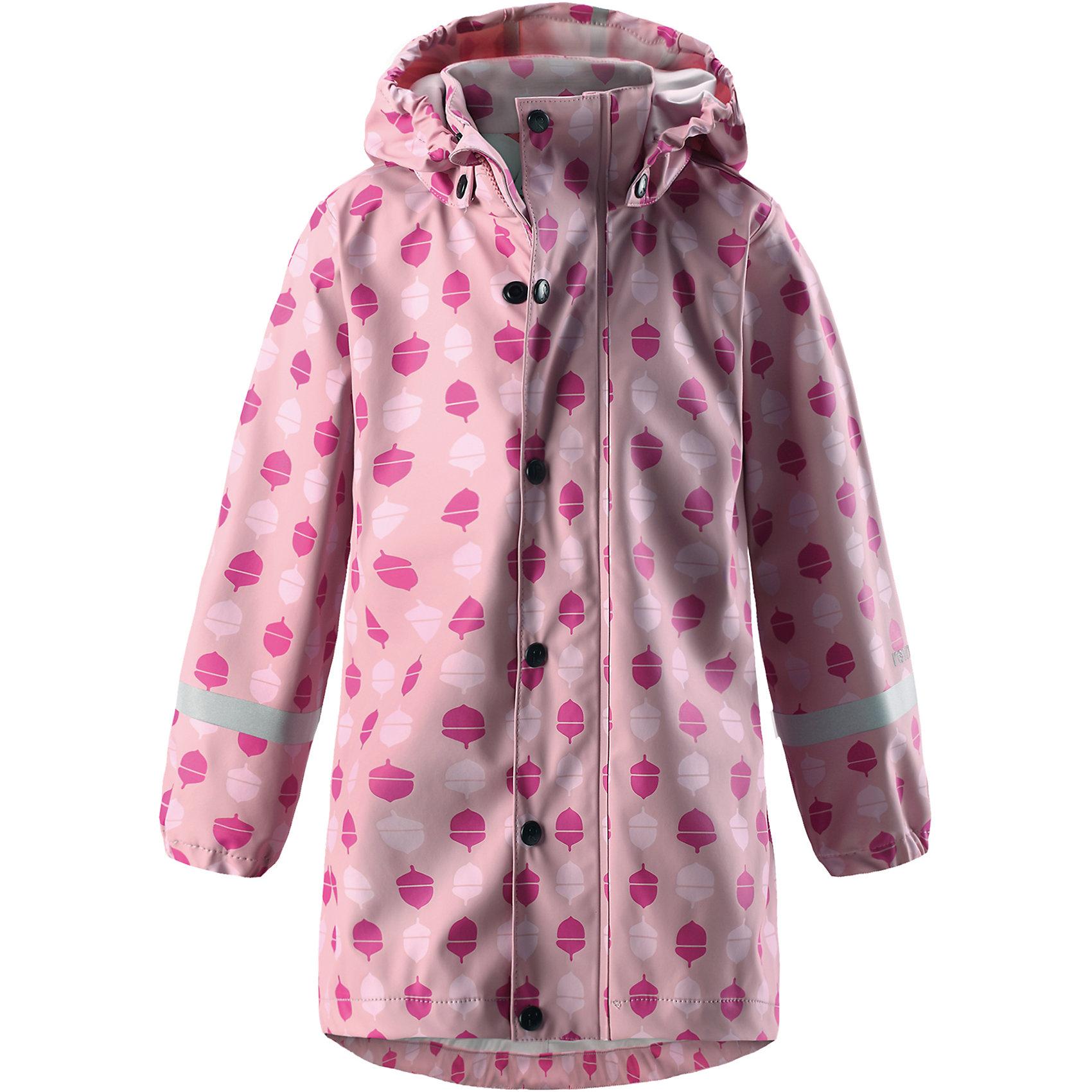 Плащ-дождевик Vatten Reima для девочкиОдежда<br>НОВОЕ ПОСТУПЛЕНИЕ! Детская куртка-дождевик изготовлена из удобного, эластичного материала, не содержащего ПВХ. Швы запаяны и абсолютно водонепроницаемы. Новый трапециевидный силуэт с удлиненной спинкой обеспечивает эффективную защиту от дождя. Куртка-дождевик не деревенеет на морозе, поэтому ее можно носить круглый год – просто добавьте в холодную погоду теплый промежуточный слой. Съемный капюшон защитит даже от ливня, при этом он безопасен во время прогулок в дождливый день. Молния спереди во всю длину и множество светоотражающих деталей. Слышите? Это дождик зовет нас танцевать!<br>Состав:<br>100% Полиэстер<br><br>Ширина мм: 356<br>Глубина мм: 10<br>Высота мм: 245<br>Вес г: 519<br>Цвет: розовый<br>Возраст от месяцев: 108<br>Возраст до месяцев: 120<br>Пол: Женский<br>Возраст: Детский<br>Размер: 140,104,110,116,122,128,134<br>SKU: 6907712