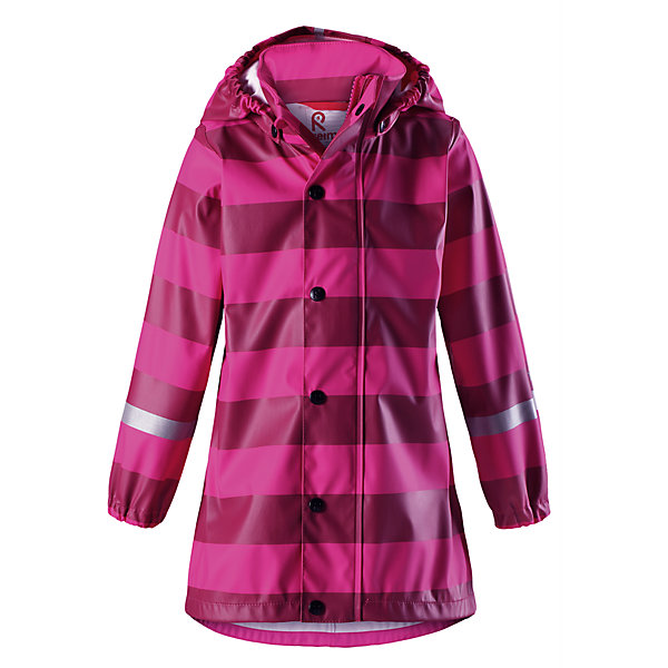 Плащ-дождевик Reima Vatten для девочкиОдежда<br>Характеристики товара:<br><br>• цвет: розовый;<br>• состав: 100% полиэстер;<br>• подкладка: 100% полиэстер;<br>• утеплитель: 160 г/м2<br>• температурный режим: от +15 до -15С;<br>• сезон: демисезон; <br>• запаянные швы, не пропускающие влагу;<br>• эластичный материал;<br>• без ПВХ;<br>• гладкая подкладка из полиэстера;<br>• эластичные манжеты;<br>• застежка: молния с дополнительной планкой на кнопках;<br>• безопасный съемный капюшон;<br>• трапециевидная форма с удлиненным сзади подолом;<br>• светоотражающие детали;<br>• страна бренда: Финляндия;<br>• страна изготовитель: Китай.<br><br>Куртка-дождевик изготовлена из удобного, эластичного материала, не содержащего ПВХ. Швы запаяны и абсолютно водонепроницаемы. Новый трапециевидный силуэт с удлиненной спинкой обеспечивает эффективную защиту от дождя. <br>Куртка-дождевик не деревенеет на морозе, поэтому ее можно носить круглый год – просто добавьте в холодную погоду теплый промежуточный слой. Съемный капюшон защитит даже от ливня, при этом он безопасен во время прогулок в дождливый день. Молния спереди во всю длину и множество светоотражающих деталей.<br><br><br>Плащ-дождевик Vatten для девочки Reima от финского бренда Reima (Рейма) можно купить в нашем интернет-магазине.<br>Ширина мм: 356; Глубина мм: 10; Высота мм: 245; Вес г: 519; Цвет: розовый; Возраст от месяцев: 72; Возраст до месяцев: 84; Пол: Женский; Возраст: Детский; Размер: 122,128,116,110,104,140,134; SKU: 6907720;