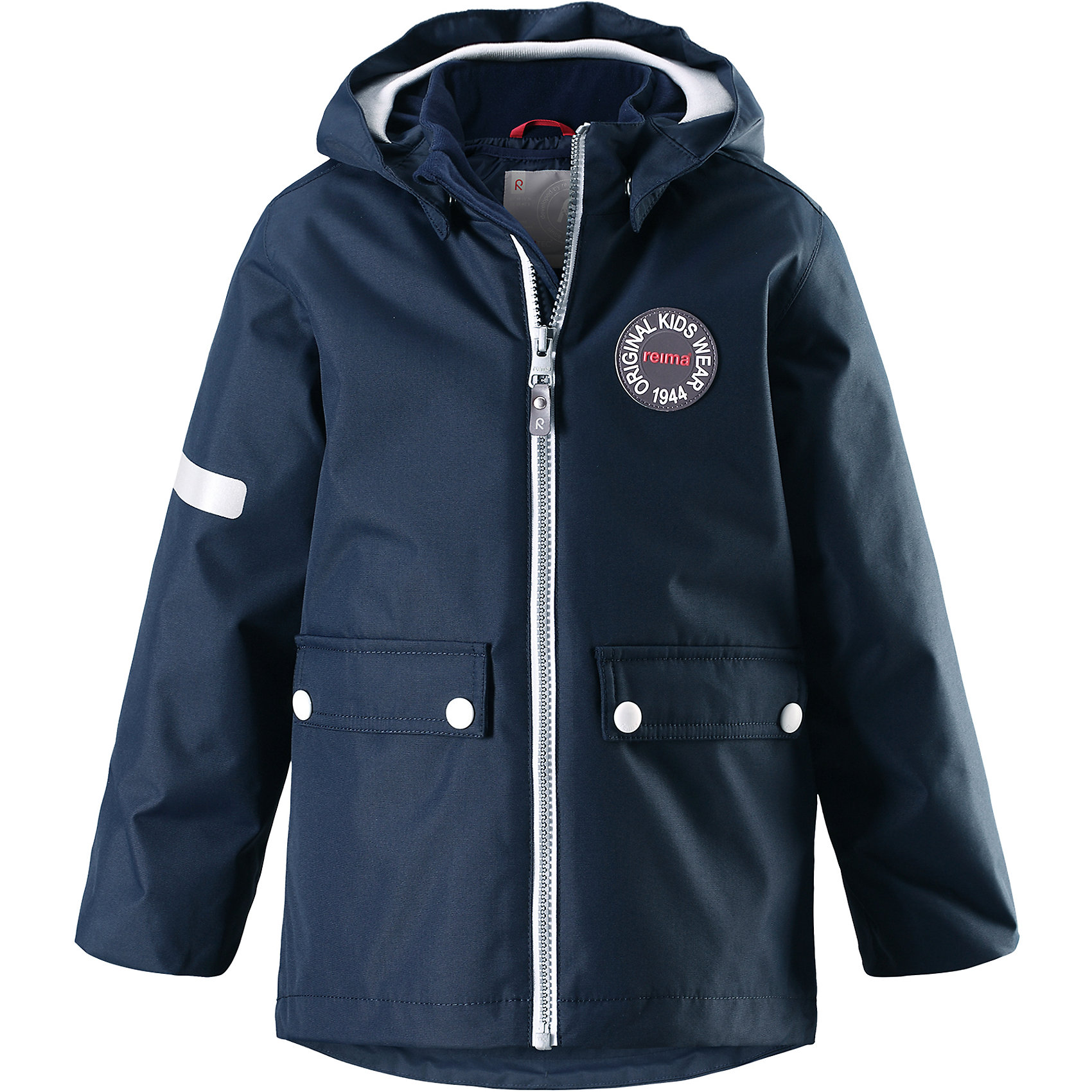 Куртка Taag Reimatec® ReimaВерхняя одежда<br>Характеристики товара:<br><br>• цвет: синий;<br>• состав: 100% полиэстер;<br>• утеплитель: 140 г/м2;<br>• сезон: демисезон, зима;<br>• температурный режим: от +10 до -10С;<br>• водонепроницаемость: 10000 мм;<br>• воздухопроницаемость: 10000 мм;<br>• износостойкость: 30000 циклов (тест Мартиндейла);<br>• водо и ветронепроницаемый, дышащий и грязеотталкивающий материал;<br>• все швы проклеены и водонепроницаемы;<br>• безопасный съемный капюшон на кнопках;<br>• застежка: молния с защитой подбородка от защемления;<br>• съемная стеганая подкладка;<br>• мягкая резинка на кромке капюшона и манжетах;<br>• регулируемый подол;<br>• два накладных кармана на кнопках;<br>• логотип Reima® спереди;<br>• светоотражающие элементы;<br>• страна бренда: Финляндия;<br>• страна производства: Китай.<br><br>Демисезонная куртка с капюшоном, в ней дождь не страшен – все основные швы проклеены, водонепроницаемы. Куртка на молнии со съемной стеганой подкладкой – незаменимая вещь для осенней поры а когда похолодает, просто подденьте теплый промежуточный слой и куртка превратиться в отличный зимний вариант. <br><br>Подол в этой куртке прямого покроя легко регулируется, что позволяет подогнать ее идеально по фигуре. Большие карманы с клапанами и светоотражающие детали, вместе с мягкой резинкой на манжетах и по краю капюшона они придают образу изюминку.<br><br>Куртка Taag Reimatec® Reima (Рейма) можно купить в нашем интернет-магазине.<br><br>Ширина мм: 356<br>Глубина мм: 10<br>Высота мм: 245<br>Вес г: 519<br>Цвет: синий<br>Возраст от месяцев: 48<br>Возраст до месяцев: 60<br>Пол: Унисекс<br>Возраст: Детский<br>Размер: 110,116,122,128,134,140,104<br>SKU: 6907752