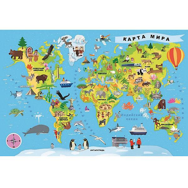 Пазлы Карта мира, 100 деталей, TreflПазлы для малышей<br>Характеристики товара:<br><br>• возраст: от 5 лет;<br>• материал: картон;<br>• в комплекте: 100 деталей;<br>• размер упаковки: 33х23х6 см;<br>• вес упаковки: 590 гр.;<br>• страна производитель: Польша.<br><br>Пазл «Карта мира» Trefl — не просто красочный пазл, но и способ изучить материки, океаны, страны, города на нашей планете. Из элементов собирается самая настоящая карта мира. Все детали выполнены из плотного качественного картона и хорошо соединяются между собой. Картинка имеет специальное покрытие, которое сохраняет цвет изображения долгое время. Сборка пазлов способствует развитию логического мышления, мелкой моторики рук, усидчивости.<br><br>Пазл «Карта мира» Trefl можно приобрести в нашем интернет-магазине.<br><br>Ширина мм: 230<br>Глубина мм: 330<br>Высота мм: 60<br>Вес г: 590<br>Возраст от месяцев: 60<br>Возраст до месяцев: 96<br>Пол: Унисекс<br>Возраст: Детский<br>SKU: 6908030