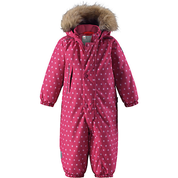 Комбинезон Reima Reimatec® Nuoska для девочкиВерхняя одежда<br>Характеристики товара:<br><br>• цвет: розовый<br>• состав: 100% полиэстер<br>• утеплитель: 160 г/м2 (soft loft insulation)<br>• сезон: зима<br>• температурный режим: от 0 до -20С<br>• водонепроницаемость: 15000 мм<br>• воздухопроницаемость: 7000 мм<br>• износостойкость: 40000 циклов (тест Мартиндейла)<br>• особенности модели: с рисунком,  с мехом<br>• основные швы проклеены и не пропускают влагу<br>• водо- и ветронепроницаемый, дышащий и грязеотталкивающий материал<br>• утепленная задняя часть изделия<br>• гладкая подкладка из полиэстера<br>• безопасный, съемный, регулируемый капюшон<br>• съемный искусственный мех на капюшоне<br>• защита подбородка от защемления<br>• эластичные манжеты и штанины<br>• эластичная талия<br>• съемные эластичные штрипки <br>• длинная молния для легкого надевания<br>• дополнительная планка с кнопками<br>• карман на молнии<br>• светоотражающие детали<br>• страна бренда: Финляндия<br>• страна изготовитель: Китай<br><br>Зимний комбинезон на молнии для девочки! Основные швы комбинезона проклеены, а сам он изготовлен из водо и ветронепроницаемого, грязеотталкивающего материала. Утепленная задняя часть обеспечит дополнительное утепление во время игр в снегу.<br><br>Гладкая подкладка и длинная молния облегчают надевание, а талия в комбинезоне регулируется. Маленький карман на молнии надежно сохранит все сокровища. Обратите внимание: комбинезон можно сушить в сушильной машине. Зимний комбинезон с капюшоном для девочки декорирован мелким рисунком со звездочками.<br><br>Комбинезон Nuoska для девочки Reimatec® Reima от финского бренда Reima (Рейма) можно купить в нашем интернет-магазине.<br>Ширина мм: 356; Глубина мм: 10; Высота мм: 245; Вес г: 519; Цвет: розовый; Возраст от месяцев: 6; Возраст до месяцев: 9; Пол: Женский; Возраст: Детский; Размер: 74,98,92,86,80; SKU: 6908104;