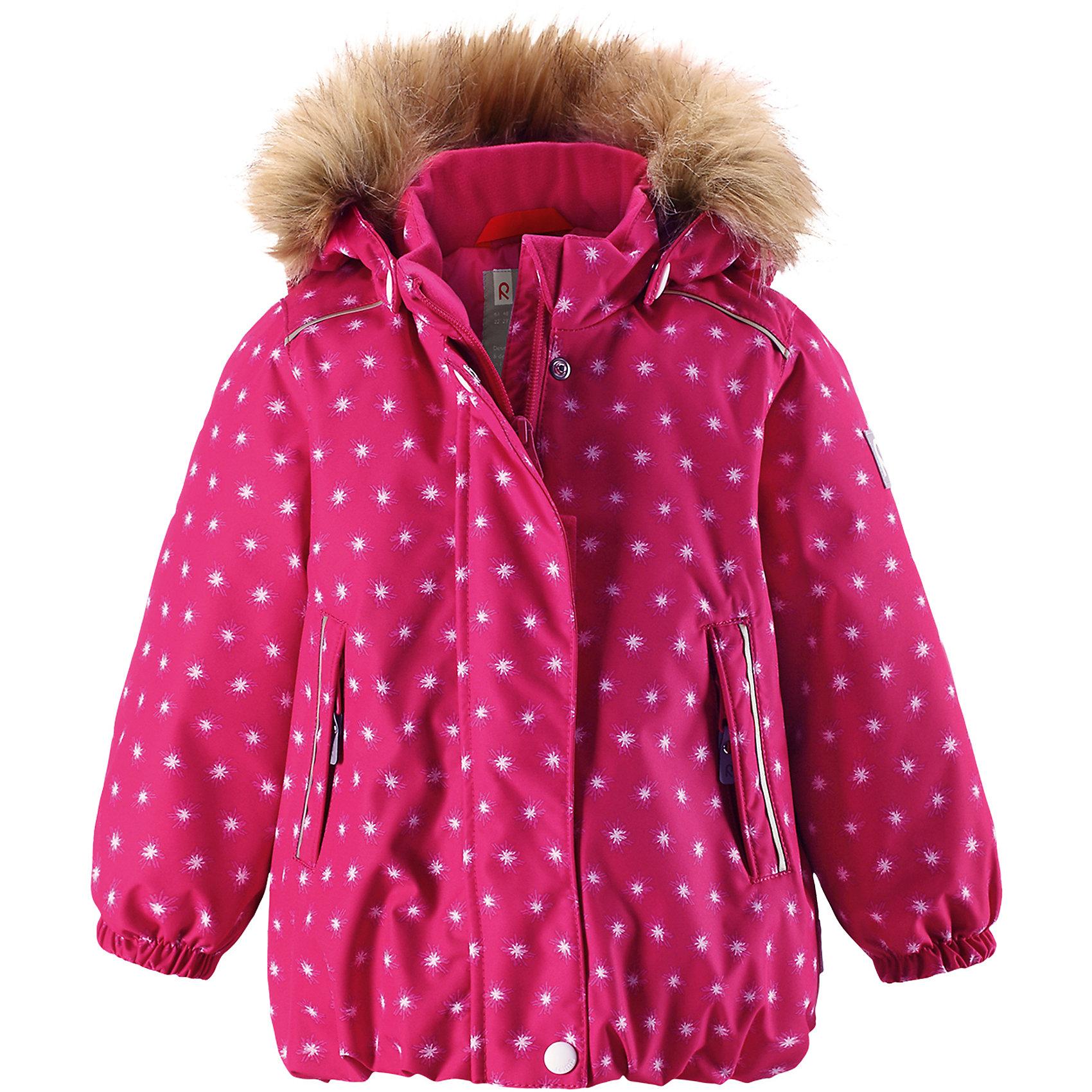 Куртка Reima Reima Pihlaja для девочкиВерхняя одежда<br>Характеристики товара:<br><br>• цвет: розовый <br>• состав: 100% полиэстер<br>• утеплитель: 100% полиэстер, 160 г/м2 (soft loft insulation)<br>• сезон: зима<br>• температурный режим: от 0 до -20С<br>• водонепроницаемость: 15000 мм<br>• воздухопроницаемость: 7000 мм<br>• износостойкость: 40000 циклов (тест Мартиндейла)<br>• особенности модели: с рисунком, с мехом<br>• основные швы проклеены и не пропускают влагу<br>• водо- и ветронепроницаемый, дышащий и грязеотталкивающий материал<br>• гладкая подкладка из полиэстера<br>• безопасный, съемный капюшон на кнопках<br>• съемный искусственный мех на капюшоне<br>• защита подбородка от защемления<br>• эластичные манжеты<br>• регулируемый подол<br>• застежка: молния<br>• дополнительная планка на кнопках<br>• два кармана на молнии<br>• светоотражающие детали<br>• страна бренда: Финляндия<br>• страна изготовитель: Китай<br><br>Зимняя куртка с капюшоном для девочки. Все швы проклеены и водонепроницаемы, а сама она изготовлена из водо и ветронепроницаемого, грязеотталкивающего материала. Гладкая подкладка и длинная застежка на молнии облегчают надевание.<br><br>Съемный капюшон защищает от ветра, к тому же он абсолютно безопасен – легко отстегнется, если вдруг за что-нибудь зацепится. Маленькие карманы на молнии надежно сохранят все сокровища. Обратите внимание: куртку можно сушить в сушильной машине. Зимняя куртка на молнии для девочки декорирована мелким рисунком в виде звездочек.<br><br>Куртка Pihlaja для девочки Reimatec® Reima от финского бренда Reima (Рейма) можно купить в нашем интернет-магазине.<br><br>Ширина мм: 356<br>Глубина мм: 10<br>Высота мм: 245<br>Вес г: 519<br>Цвет: розовый<br>Возраст от месяцев: 24<br>Возраст до месяцев: 36<br>Пол: Женский<br>Возраст: Детский<br>Размер: 98,80,86,92<br>SKU: 6908230