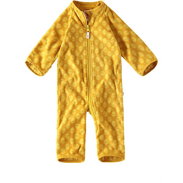 Флисовый комбинезон Reima LauluОдежда<br>Характеристики товара:<br><br>• цвет: желтый <br>• состав: 100% полиэстер, флис<br>• сезон: демисезон<br>• особенности модели: с рисунком, флисовый<br>• теплый, легкий и быстросохнущий флис<br>• выводит влагу в верхние слои одежды<br>• регулируемый капюшон<br>• рукава и штанины с подгибом<br>• эластичный воротник, манжеты на рукавах и штанинах<br>• молния по всей длине с защитой подбородка<br>• страна бренда: Финляндия<br>• страна изготовитель: Китай<br><br>Теплый флисовый комбинезон без капюшона подарит малышу комфорт и мягкость. Мягкий на ощупь и удобный комбинезон на молнии отлично подойдет для прогулок в холодные осенние дни.<br><br>Манжеты на рукавах и брючинах подворачиваются, поэтому защищают маленькие ручки и ножки от холода – так что малышам не обязательно надевать на прогулку ботиночки и варежки! Молния во всю длину с защитой для подбородка облегчает процесс надевания и надежно защищает подбородок и шею от царапин.<br><br>Комбинезон Laulu Reima от финского бренда Reima (Рейма) можно купить в нашем интернет-магазине.<br><br>Ширина мм: 356<br>Глубина мм: 10<br>Высота мм: 245<br>Вес г: 519<br>Цвет: желтый<br>Возраст от месяцев: 6<br>Возраст до месяцев: 9<br>Пол: Унисекс<br>Возраст: Детский<br>Размер: 74/80,50/56,62/68<br>SKU: 6908351