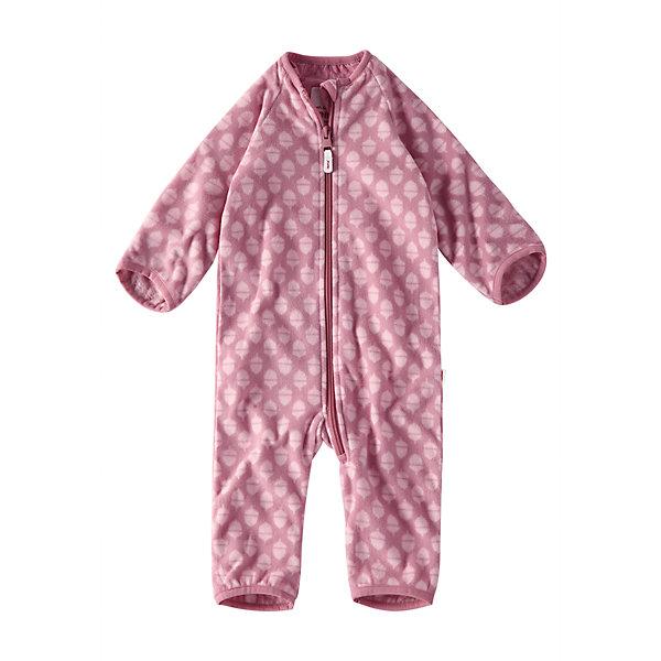 Флисовый комбинезон Reima Laulu для девочкиФлис и термобелье<br>Характеристики товара:<br><br>• цвет: розовый <br>• состав: 100% полиэстер, флис<br>• сезон: демисезон<br>• особенности модели: с рисунком, флисовый<br>• теплый, легкий и быстросохнущий флис<br>• выводит влагу в верхние слои одежды<br>• регулируемый капюшон<br>• рукава и штанины с подгибом<br>• эластичный воротник, манжеты на рукавах и штанинах<br>• молния по всей длине с защитой подбородка<br>• страна бренда: Финляндия<br>• страна изготовитель: Китай<br><br>Теплый флисовый комбинезон без капюшона подарит малышу комфорт и мягкость. Мягкий на ощупь и удобный комбинезон на молнии отлично подойдет для прогулок в холодные осенние дни.<br><br>Манжеты на рукавах и брючинах подворачиваются, поэтому защищают маленькие ручки и ножки от холода – так что малышам не обязательно надевать на прогулку ботиночки и варежки! Молния во всю длину с защитой для подбородка облегчает процесс надевания и надежно защищает подбородок и шею от царапин.<br><br>Комбинезон Laulu Reima от финского бренда Reima (Рейма) можно купить в нашем интернет-магазине.<br><br>Ширина мм: 356<br>Глубина мм: 10<br>Высота мм: 245<br>Вес г: 519<br>Цвет: розовый<br>Возраст от месяцев: 0<br>Возраст до месяцев: 1<br>Пол: Унисекс<br>Возраст: Детский<br>Размер: 50/56,74/80,62/68<br>SKU: 6908355