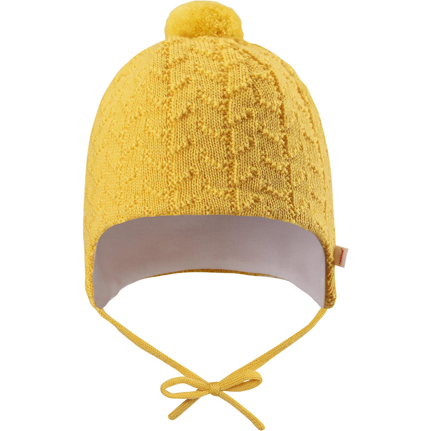 Шапка Reima LintuГоловные уборы<br>Характеристики товара:<br><br>• цвет: желтый;<br>• состав: 100% шерсть;<br>• подкладка: 97% хлопок, 3% эластан;<br>• температурный режим: от 0 до -10С;<br>• сезон: демисезон; <br>• особенности модели: на подкладке, на завязках;<br>• сплошная подкладка: гладкий хлопковый трикотаж;<br>• задние швы отсутствуют;<br>• шапка на завязках, сверху помпон;<br>• логотип Reima сбоку;<br>• страна бренда: Финляндия;<br>• страна изготовитель: Китай.<br><br>Шапка на завязках для малышей, изготовленная из чистой шерсти, превосходно подходит для зимних дней. Она невероятно теплая, поскольку связана из мериносовой шерсти и подбита мягкой трикотажной подкладкой. Шапка на подкладке декорирована помпоном и вязаным узором.<br><br>Шапка Lintu Reima от финского бренда Reima (Рейма) можно купить в нашем интернет-магазине.<br><br>Ширина мм: 89<br>Глубина мм: 117<br>Высота мм: 44<br>Вес г: 155<br>Цвет: желтый<br>Возраст от месяцев: 6<br>Возраст до месяцев: 9<br>Пол: Унисекс<br>Возраст: Детский<br>Размер: 42-44,34-36,38-40<br>SKU: 6908754