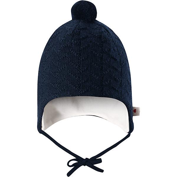 Шапка Reima Lintu для мальчикаШапки и шарфы<br>Характеристики товара:<br><br>• цвет: темно-синий;<br>• состав: 100% шерсть;<br>• подкладка: 97% хлопок, 3% эластан;<br>• температурный режим: от 0 до -10С;<br>• сезон: демисезон; <br>• особенности модели: на подкладке, на завязках;<br>• сплошная подкладка: гладкий хлопковый трикотаж;<br>• задние швы отсутствуют;<br>• шапка на завязках, сверху помпон;<br>• логотип Reima сбоку;<br>• страна бренда: Финляндия;<br>• страна изготовитель: Китай.<br><br>Шапка на завязках для малышей, изготовленная из чистой шерсти, превосходно подходит для зимних дней. Она невероятно теплая, поскольку связана из мериносовой шерсти и подбита мягкой трикотажной подкладкой. Шапка на подкладке декорирована помпоном и вязаным узором.<br><br>Шапка Lintu Reima от финского бренда Reima (Рейма) можно купить в нашем интернет-магазине.<br><br>Ширина мм: 89<br>Глубина мм: 117<br>Высота мм: 44<br>Вес г: 155<br>Цвет: синий<br>Возраст от месяцев: 6<br>Возраст до месяцев: 9<br>Пол: Мужской<br>Возраст: Детский<br>Размер: 34-36,42-44,38-40<br>SKU: 6908762