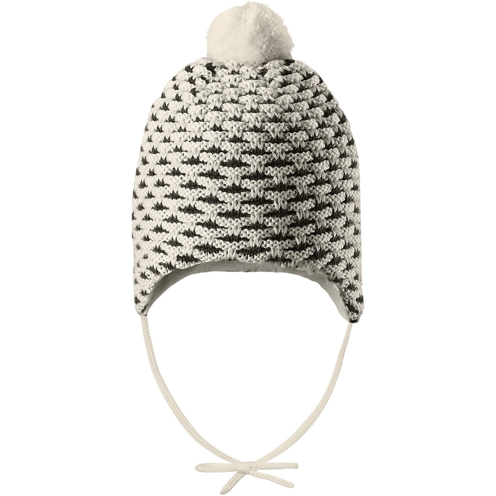 Шапка Reima TorkkuШапки и шарфы<br>Характеристики товара:<br><br>• цвет: белый;<br>• состав: 50% шерсть, 50% полиакрил;<br>• подкладка: 100% полиэстер, флис<br>• температурный режим: от 0 до -20С;<br>• сезон: зима; <br>• особенности модели: вязаная, на завязках, на флисовой подкладке;<br>• мягкая и приятная на ощупь вязка из смеси шерсти и Tencel®;<br>• сплошная подкладка: мягкий теплый флис;<br>• задние швы отсутствуют;<br>• шапка на завязках, сверху помпон;<br>• логотип Reima сбоку;<br>• страна бренда: Финляндия;<br>• страна изготовитель: Китай.<br><br>Вязаная шапка на завязках для новорожденных сшита из теплого полушерстяного материала и снабжена мягкой, очень приятной на ощупь подкладкой из флиса. Благодаря завязкам шапка будет хорошо держаться, а симпатичный помпон делает ее просто неотразимой. Рекомендуем носить в сочетании с варежками Uninen и пинетками Lepo.<br><br>Шапка Torkku Reima от финского бренда Reima (Рейма) можно купить в нашем интернет-магазине.<br><br>Ширина мм: 89<br>Глубина мм: 117<br>Высота мм: 44<br>Вес г: 155<br>Цвет: белый<br>Возраст от месяцев: 6<br>Возраст до месяцев: 9<br>Пол: Унисекс<br>Возраст: Детский<br>Размер: 42-44,34-36,38-40<br>SKU: 6908810