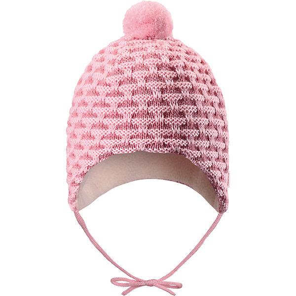 Шапка Reima Torkku для девочкиШапки и шарфы<br>Характеристики товара:<br><br>• цвет: розовый;<br>• состав: 50% шерсть, 50% полиакрил;<br>• подкладка: 100% полиэстер, флис<br>• температурный режим: от 0 до -20С;<br>• сезон: зима; <br>• особенности модели: вязаная, на завязках, на флисовой подкладке;<br>• мягкая и приятная на ощупь вязка из смеси шерсти и Tencel®;<br>• сплошная подкладка: мягкий теплый флис;<br>• задние швы отсутствуют;<br>• шапка на завязках, сверху помпон;<br>• логотип Reima сбоку;<br>• страна бренда: Финляндия;<br>• страна изготовитель: Китай.<br><br>Вязаная шапка на завязках для новорожденных сшита из теплого полушерстяного материала и снабжена мягкой, очень приятной на ощупь подкладкой из флиса. Благодаря завязкам шапка будет хорошо держаться, а симпатичный помпон делает ее просто неотразимой. Рекомендуем носить в сочетании с варежками Uninen и пинетками Lepo.<br><br>Шапка Torkku Reima от финского бренда Reima (Рейма) можно купить в нашем интернет-магазине.<br>Ширина мм: 89; Глубина мм: 117; Высота мм: 44; Вес г: 155; Цвет: розовый; Возраст от месяцев: 6; Возраст до месяцев: 9; Пол: Женский; Возраст: Детский; Размер: 42-44,38-40,34-36; SKU: 6908814;