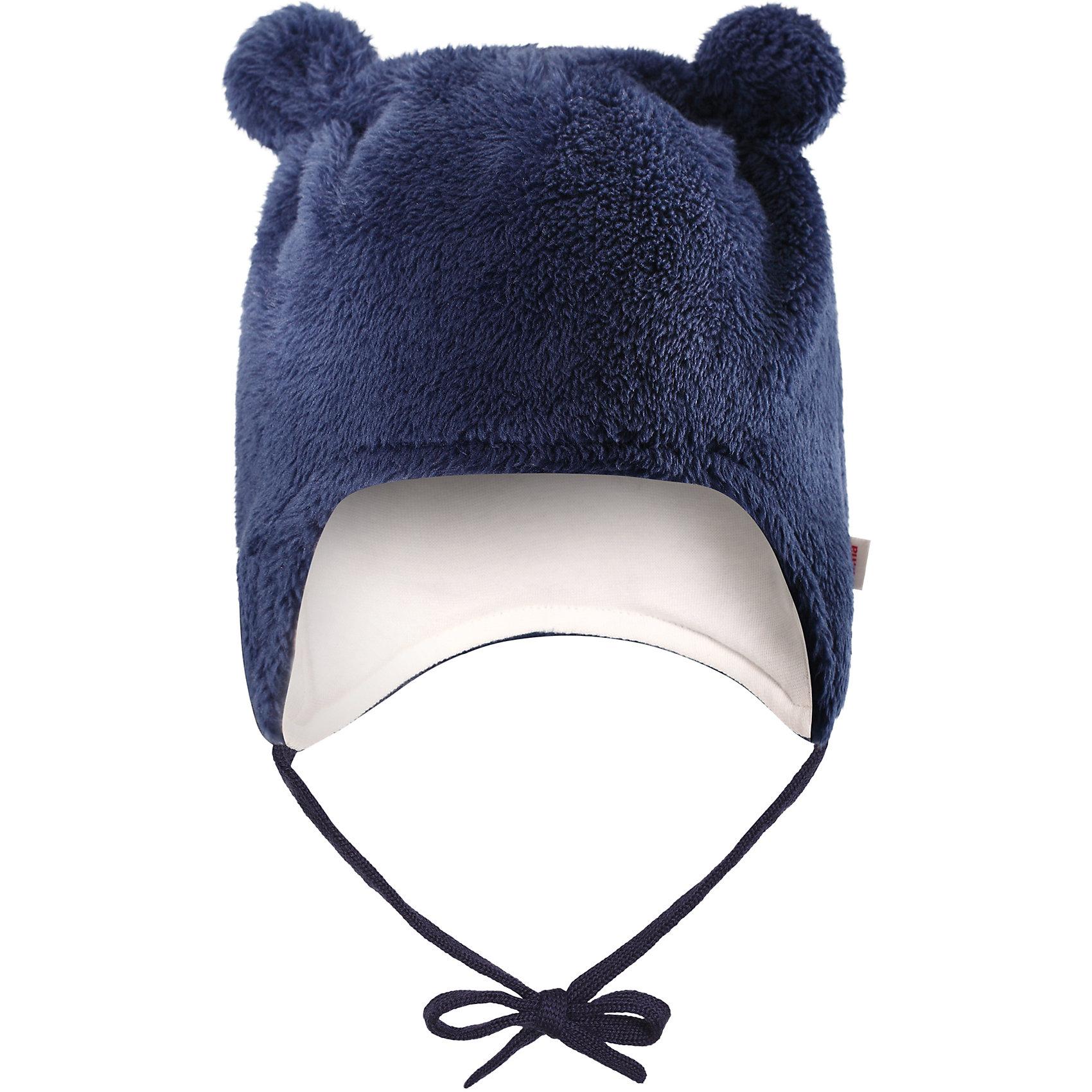 Флисовая шапка Reima LeoШапочки<br>Характеристики товара:<br><br>• цвет: темно-синий;<br>• состав: 100% полиэстер, флис;<br>• подкладка: 97% хлопок, 3% эластан;<br>• температурный режим: от 0 до -20С;<br>• сезон: зима; <br>• особенности модели: флисовая, на завязках;<br>• дышащий, теплый и быстросохнущий флис;<br>• сплошная подкладка: мягкий теплый триотаж;<br>• задние швы отсутствуют;<br>• шапка на завязках, сверху декоративные ушки;<br>• логотип Reima сбоку;<br>• страна бренда: Финляндия;<br>• страна изготовитель: Китай.<br><br>Флисовая шапка на завязках для новорожденных сшита из мягкого и пушистого ворсового флиса и снабжена симпатичной подкладкой из джерси. Флис – дышащий и быстросохнущий материал, а благодаря отсутствию заднего шва шапка идеально подойдет для чувствительной кожи младенца. Довершите образ парой симпатичных варежек Lepus.<br><br>Шапка Leo Reima от финского бренда Reima (Рейма) можно купить в нашем интернет-магазине.<br><br>Ширина мм: 89<br>Глубина мм: 117<br>Высота мм: 44<br>Вес г: 155<br>Цвет: синий<br>Возраст от месяцев: 6<br>Возраст до месяцев: 9<br>Пол: Унисекс<br>Возраст: Детский<br>Размер: 42-44,34-36,38-40<br>SKU: 6908826