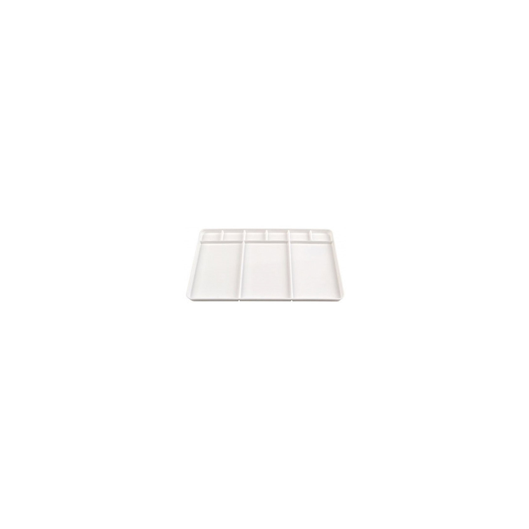Пластиковая прямоугольная палитра Малевичъ без ручки, 9 ячеекАксессуары для творчества<br>Характеристики:<br><br>• возраст: от 3 лет<br>• размер: 34х23 см.<br>• количество ячеек: 9<br>• материал: пластик<br><br>Пластиковая палитра среднего размера предназначена для профессиональной работы с сухой акварелью в кюветах или влажной в тюбиках. Устанавливается на стол или этюдник. Палитра разделена на девять секций с бортиками, в которые можно устанавливать кюветы с красками. Белый цвет пластика позволяет оценить, как смешиваемый оттенок краски будет выглядеть на бумаге.<br><br>Палитра Малевичъ изготовлена из гипоаллергенного пластика, тщательно отполирована, удобна и безопасна в работе, прослужит долгое время.<br><br>Пластиковую прямоугольную палитру Малевичъ без ручки, 9 ячеек можно купить в нашем интернет-магазине.<br><br>Ширина мм: 220<br>Глубина мм: 15<br>Высота мм: 335<br>Вес г: 180<br>Возраст от месяцев: 36<br>Возраст до месяцев: 2147483647<br>Пол: Унисекс<br>Возраст: Детский<br>SKU: 6910380