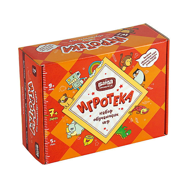 Развивающая настольная игра Игротека 7+ , Банда Умников, в ассортиментеОбучающие игры для дошкольников<br>Характеристики товара:<br><br>• возраст: от 7 лет;<br>• комплект: 4 игры;<br>• количество предполагаемых игроков: 2-5;<br>• время игры: 5–25 мин.;<br>• материал: бумага, картон, пластик;<br>• размер упаковки: 9 х 20.5 х 19 см;<br>• упаковка: картонная коробка;<br>• страна обладатель бренда: Россия.<br><br>Набор настольных игр 4 в 1 Игротека от производителя Банда умников - это замечательный комплект обучающих игр, который станет отличным подспорьем для первоклассника и поможет ему увлекательно и с пользой проводить свой досуг.<br><br>Читай-Хватай, Турбосчет, Цветариум, Геометрика - 4 обучающие игры, благодаря которым ребенок освоит алфавит и чтение, цифры и счет, геометрию, математические действия, неравенства и сможет закрепить полученные знания.<br><br>Уникальный обучающий комплект способствует освоению школьной программы и общему развитию ребенка.<br><br>Развивающую настольную игру Игротека 7+ , Банда Умников можно купить в нашем интернет-магазине.<br>Ширина мм: 190; Глубина мм: 205; Высота мм: 90; Вес г: 1118; Возраст от месяцев: 84; Возраст до месяцев: 2147483647; Пол: Унисекс; Возраст: Детский; SKU: 6912302;
