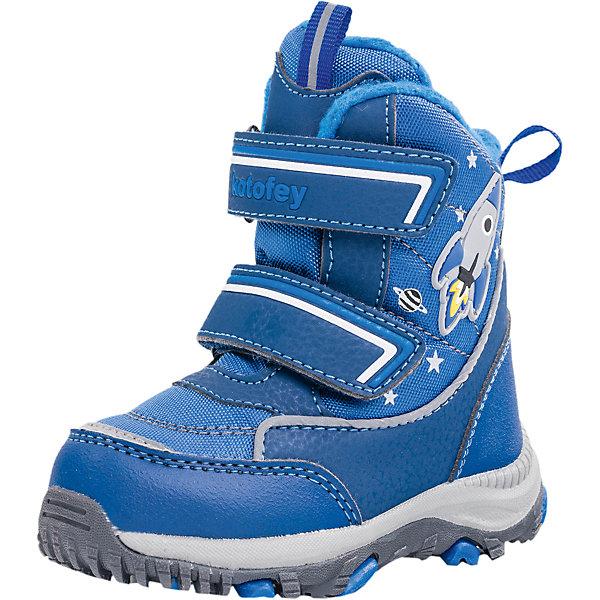 Ботинки для мальчика КотофейБотинки<br>Характеристики товара:<br><br>• цвет: синий<br>• внешний материал: полимер<br>• внутренний материал: шерсть<br>• стелька: шерсть<br>• подошва: филон+ТЭП<br>• сезон: зима<br>• мембранные<br>• температурный режим: от -20 до +5<br>• особенности модели: спортивный стиль<br>• застежка: липучки<br>• анатомические <br>• подошва не скользит<br>• высокие<br>• защита мыса<br>• страна бренда: Россия<br>• страна изготовитель: Россия<br><br>Мембранные детские ботинки имеют легкую устойчивую подошву. Ботинки для девочки Котофей декорированы принтом. Материал, из которого сделаны детские ботинки, прочный и износостойкий. Зимние ботинки для девочки отличаются комфортной посадкой.<br><br>Ботинки для мальчика Котофей можно купить в нашем интернет-магазине.<br><br>Ширина мм: 262<br>Глубина мм: 176<br>Высота мм: 97<br>Вес г: 427<br>Цвет: синий<br>Возраст от месяцев: 18<br>Возраст до месяцев: 21<br>Пол: Мужской<br>Возраст: Детский<br>Размер: 23,22,25,24<br>SKU: 6913208