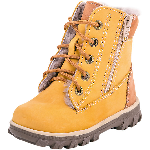 Ботинки для мальчика КотофейБотинки<br>Характеристики товара:<br><br>• цвет: желтый<br>• внешний материал: натуральная кожа<br>• внутренний материал: шерсть<br>• стелька: шерсть<br>• подошва: ТЭП<br>• сезон: зима<br>• температурный режим: от -20 до +5<br>• застежка: шнурки, молния<br>• анатомические <br>• подошва не скользит<br>• высокие<br>• защита мыса<br>• страна бренда: Россия<br>• страна изготовитель: Россия<br><br>Модные ботинки для мальчика от бренда Котофей легко надеваются благодаря удобной застежке. Детские теплые ботинки сделаны из натуральной кожи. Эти ботинки для мальчика качественные и комфортные.<br><br>Ботинки для мальчика Котофей можно купить в нашем интернет-магазине.<br>Ширина мм: 262; Глубина мм: 176; Высота мм: 97; Вес г: 427; Цвет: желтый; Возраст от месяцев: 24; Возраст до месяцев: 24; Пол: Мужской; Возраст: Детский; Размер: 25,29,28,27,26; SKU: 6913330;