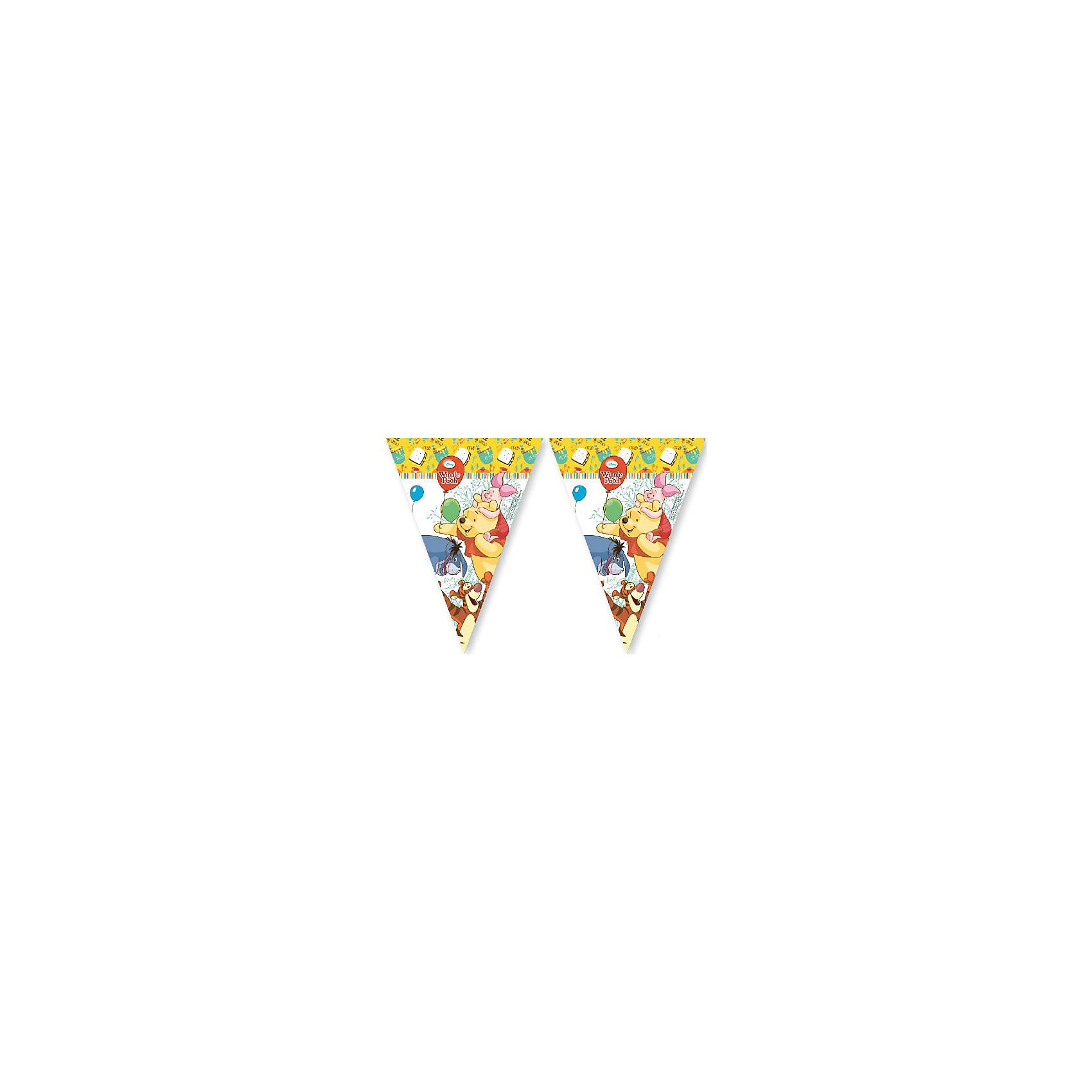 Гирлянда из 9 флажков  Винни и Хрюня )Всё для праздника<br>Гирлянда Винни-Пух и Пятачок – это девять треугольных флажков с изображением забавных персонажей любимого мультфильма: медвежонка Винни, поросенка Пятачка, ослика Иа и Тигры. Все они собрались, чтобы поздравить малыша с его важной датой. Такая гирлянда будет отличным украшением помещения, послужив отличным дополнением к праздничному оформлению. @#<br>Гирлянда произведена греческим брендом Procos, на протяжении многих лет специализирующемся на товарах для детского праздника. Товар изготовлен из безопасных для здоровья ребенка материалов, прошедших соответствие европейским стандартам качества.<br><br>Ширина мм: 1<br>Глубина мм: 224<br>Высота мм: 370<br>Вес г: 5<br>Возраст от месяцев: 36<br>Возраст до месяцев: 120<br>Пол: Унисекс<br>Возраст: Детский<br>SKU: 6914337