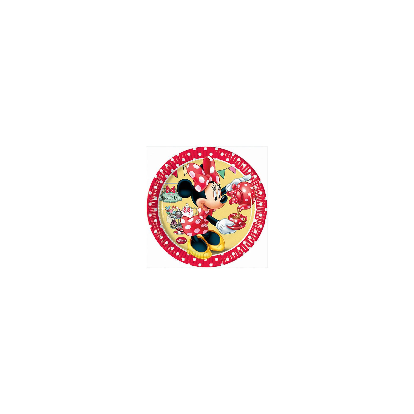 Тарелки Кафе Минни 20см 8штВсё для праздника<br>Характеристики товара:<br><br>• возраст: от 3 лет;<br>• упаковка: пакет;<br>• размер упаковки: 19х19х2 см.;<br>• количество тарелок: 8 шт.;<br>• размер тарелки: 20 см.;<br>• цвет: красный;<br>• материал: картон;<br>• бренд, страна: Procos, Россия;<br>• страна-производитель: Греция<br><br>Тарелки  «Кафе Минни» с изображением очаровательной Минни Маус помогут не только оригинально и необычно украсить праздничный стол и создать незабываемую атмосферу праздника, но и обезопасят вас и ваших детей от разбитой посуды. <br><br>Тарелки сделаны из качественных материалов, не токсичны, противоаллергенны и безопасны для здоровья.<br><br>Тарелки  «Кафе Минни» , 20 см., 8 шт., Procos (Прокос)  можно купить в нашем интернет-магазине.<br><br>Ширина мм: 20<br>Глубина мм: 195<br>Высота мм: 195<br>Вес г: 10<br>Возраст от месяцев: 36<br>Возраст до месяцев: 120<br>Пол: Женский<br>Возраст: Детский<br>SKU: 6914347