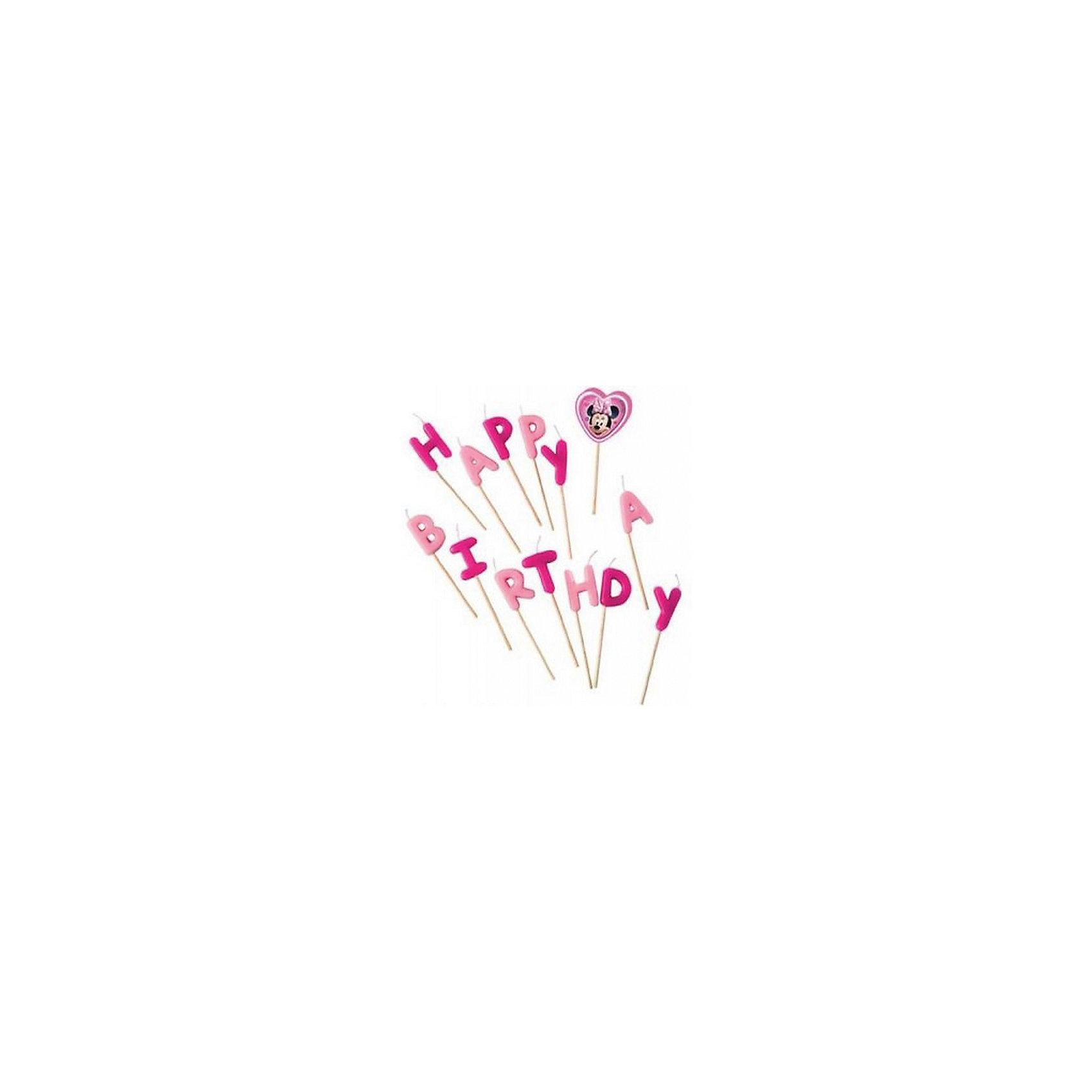 Свечи-буквы Кафе Минни «Happy Birthday»Всё для праздника<br>Характеристики товара:<br><br>• возраст: от 3 лет;<br>• упаковка: блистер;<br>• размер упаковки: 17,5х12х2,5 см.;<br>• количество свечей: 14 шт.;<br>• высота свечки: 7 см.;<br>• цвет: розовый;<br>• состав: парафин, дерево;<br>• бренд, страна: Procos, Россия;<br>• страна-производитель: Греция.<br><br>Свечи-буквы «Кафе Минни «Happy Birthday» станут лучшим вариантом украшения детского торта. Посаженные на длинные деревянные шпажки, они прочно удержатся на торте. Из букв складывается популярное поздравление Happy Birthday.  С такими свечками праздник удастся на славу, а маленький именинник и его гости будут в восторге!<br><br>Свечки изготовлены из высококачественных нетоксичных материалов и безопасны для детского здоровья.<br><br>Свечи-буквы «Кафе Минни «Happy Birthday», 7 см., 14 шт., Procos (Прокос)  можно купить в нашем интернет-магазине.<br><br>Ширина мм: 5<br>Глубина мм: 90<br>Высота мм: 175<br>Вес г: 50<br>Возраст от месяцев: 36<br>Возраст до месяцев: 120<br>Пол: Женский<br>Возраст: Детский<br>SKU: 6914349