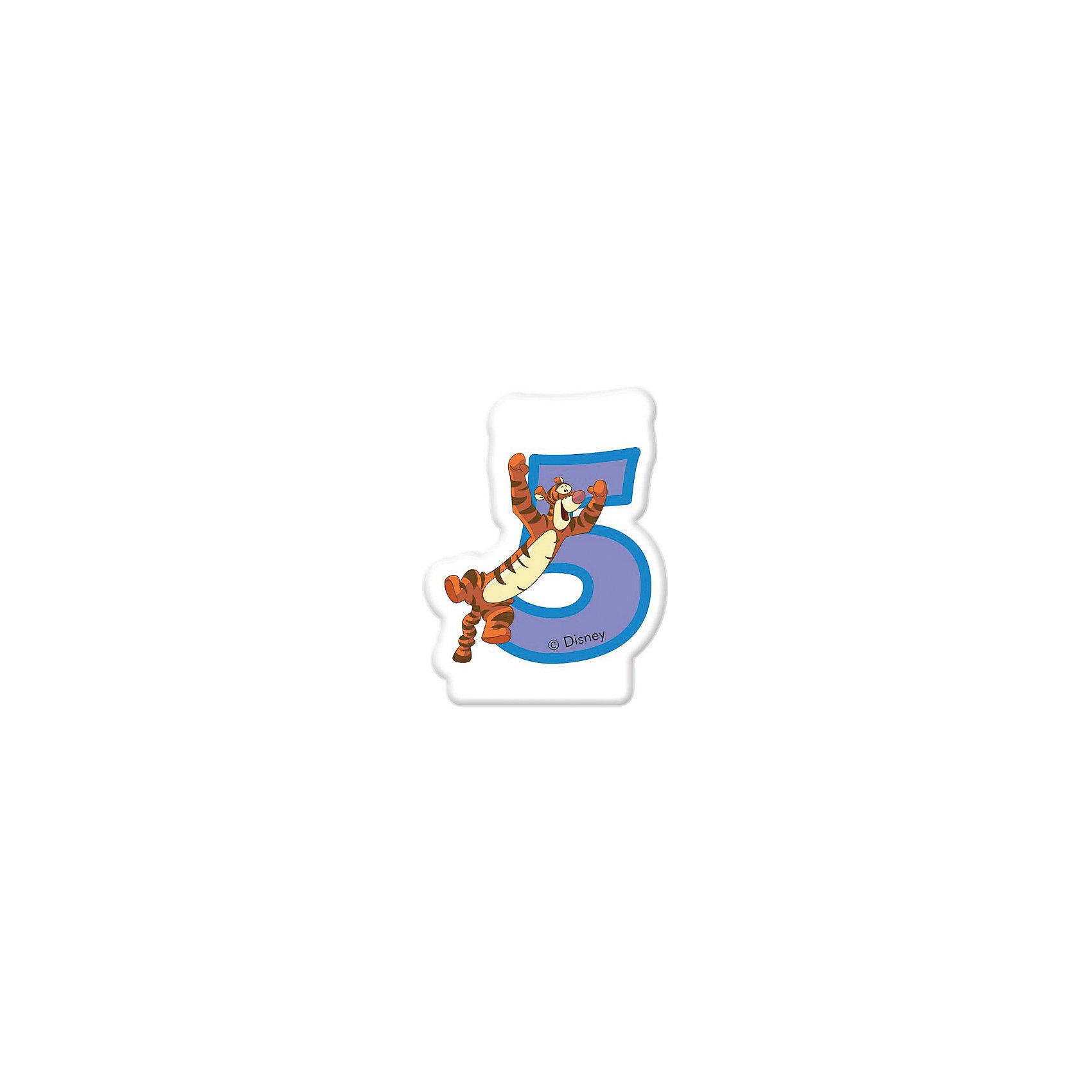 Свечка для тортаВсё для праздника<br>Характеристики товара:<br><br>• возраст: от 3 лет;<br>• упаковка: блистер;<br>• размер упаковки: 13х8х1 см.;<br>• количество свечей: 1 шт.;<br>• высота свечки: 6 см.;<br>• цвет: розовый;<br>• состав: парафин, дерево;<br>• бренд, страна: Procos, Россия;<br>• страна-производитель: Греция<br><br>Свечка «Винни: 5 лет» станет лучшим вариантом украшения детского торта на праздновании дня рождения вашего малыша. С помощью свечи для торта  «Винни: 2 года» с забавной фигуркой героя из мультфильма Дисней Тигры вы порадуете вашего ребенка и сделаете день рождения незабываемым.  <br><br>Свечки изготовлены из высококачественных нетоксичных материалов и безопасны для детского здоровья.<br><br>Свечка «Винни: 5 лет», 6 см., 1 шт., Procos (Прокос)  можно купить в нашем интернет-магазине.<br><br>Ширина мм: 85<br>Глубина мм: 250<br>Высота мм: 130<br>Вес г: 27<br>Возраст от месяцев: 36<br>Возраст до месяцев: 120<br>Пол: Унисекс<br>Возраст: Детский<br>SKU: 6914363