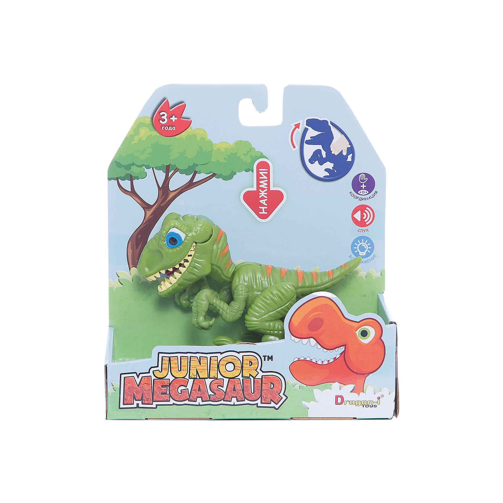 Игрушка Динозавр, открывает пасть, зеленый, Junior MegasaurДраконы и динозавры<br>Характеристики товара:<br><br>• возраст: от 3 лет;<br>• материал: пластик;<br>• размер упаковки: 17х6 х19 см;<br>• вес упаковки: 115 гр.;<br>•высота фигурки: 10 см;<br>•упаковка: коробка открытого типа;<br>•страна обладатель бренда: США. <br><br>Яркая игрушка поможет познакомить ребенка с миром динозавров, рассказать ему о том, чем они питались и какие имели повадки.  Открывающий пасть динозаврик отличный подарком для юного палеонтолога. <br><br>Дизайн игрушки отличается преувеличенно яркими оттенками, благодаря чему этот опасный хищник не сможет напугать кроху. Фигурка имеет подвижные лапы, благодаря чему ей можно придавать различные эффектные позы. Если нажать на спину динозаврика, то он запрокинет голову, откроет пасть и захлопнет ее, щелкнув зубами. <br><br>Выполненная из высококачественного пластика фигурка окрашена с использованием нетоксичных красок, благодаря чему абсолютно безопасна для детей. <br><br>Игрушку Динозавр Junior Megasaur, оранжевый можно приобрести в нашем интернет-магазине.<br><br>Ширина мм: 170<br>Глубина мм: 60<br>Высота мм: 190<br>Вес г: 151<br>Возраст от месяцев: 36<br>Возраст до месяцев: 2147483647<br>Пол: Мужской<br>Возраст: Детский<br>SKU: 6916222