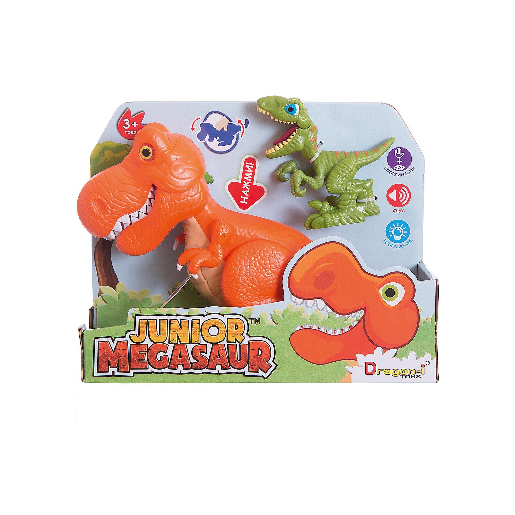Игрушка динозавра, со светом и звуком, Junior MegasaurДраконы и динозавры<br>Характеристики товара:<br><br>• возраст: от 3 лет;<br>• материал: пластик;<br>• тип батареек : 2 батарейки АА ;<br>• наличие батареек : демонстрационные батарейки;<br>• размер упаковки:31х11х26 см;<br>• вес упаковки: 657 гр.;<br>•страна обладатель бренда: США. <br><br>Перед вами набор сразу с двумя чудесными динозаврами. Один из них небольшой  зеленый ящер, а другой большой оранжевый - интерактивный. Он оснащен световыми и звуковыми эффектами: при наклоне корпуса динозавра у него будут светиться глаза, он зарычит и начнёт хлопать пастью. При этом динозавр может захватывать мелкие предметы со стола или с пола.<br><br>Маленький динозавр - при нажатии на спинку открывает пасть, большой - рычит, при этом у него светятся глаза. С такими игрушками ребенок весело проведет время и придумает множество различных историй.<br><br>Игрушку динозавр Junior Megasaur, со светом и звуком  можно приобрести в нашем интернет-магазине.<br><br>Ширина мм: 310<br>Глубина мм: 110<br>Высота мм: 240<br>Вес г: 657<br>Возраст от месяцев: 36<br>Возраст до месяцев: 2147483647<br>Пол: Мужской<br>Возраст: Детский<br>SKU: 6916225
