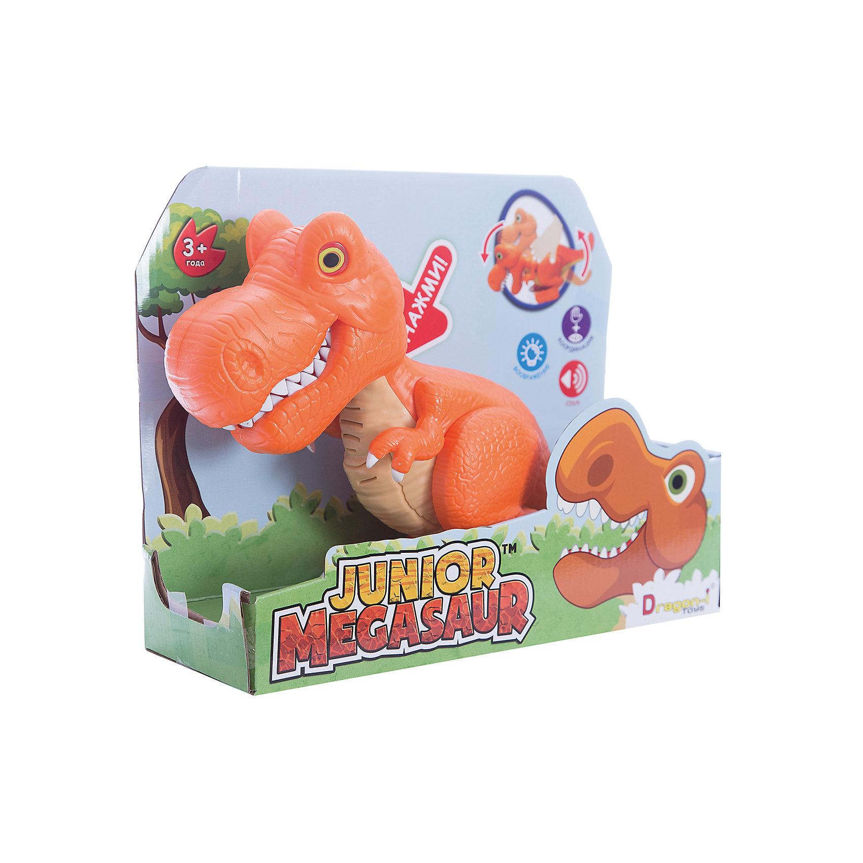 Динозавр Тирекс, со светом и звуком, оранжевый, Junior MegasaurДраконы и динозавры<br>Характеристики товара:<br><br>• возраст: от 3 лет;<br>• материал: пластик;<br>• размер упаковки: 31х11х26 см;<br>• вес упаковки: 603 гр.;     <br>• цвет: оранжевый;  <br>• тип батареек : 2 батарейки АА ;<br>• наличие батареек : демонстрационные батарейки;<br>•страна обладатель бренда: США.   <br><br>Динозавр Тирекс бренда  Junior Megasaur оснащен световыми и звуковыми эффектами: при наклоне корпуса динозавра у него будут светиться глаза, он зарычит и начнёт хлопать пастью. При этом динозавр может захватывать мелкие предметы со стала или с пола. Динозаврик рычит при нажатии на спину, при этом у него светятся глаза. <br><br>Игрушку динозавр «Тирекс» Junior Megasaur , со светом и звуком  можно приобрести в нашем интернет-магазине.<br><br>Ширина мм: 310<br>Глубина мм: 110<br>Высота мм: 240<br>Вес г: 603<br>Возраст от месяцев: 36<br>Возраст до месяцев: 2147483647<br>Пол: Мужской<br>Возраст: Детский<br>SKU: 6916227