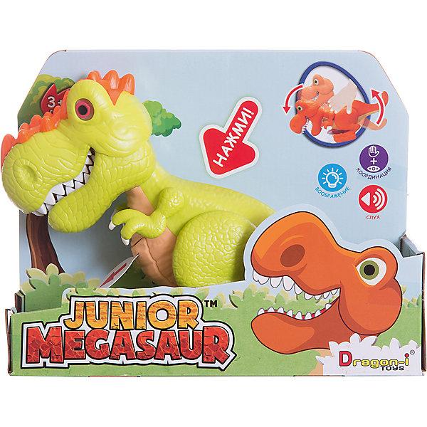 Динозавр Ругопс, со светом и звуком, салатовый, Junior MegasaurИнтерактивные животные<br>Характеристики товара:<br><br>• возраст: от 3 лет;<br>• материал: пластик;<br>• цвет: салатовый;  <br>• тип батареек : 2 батарейки АА ;<br>• наличие батареек : демонстрационные батарейки;<br>• размер упаковки: 31х11х26 см;<br>• вес упаковки: 603 гр.;<br>•страна обладатель бренда: США.   <br><br>Динозавр Ругопс салатового цвета оснащен световыми и звуковыми эффектами: при наклоне корпуса динозавра у него будут светиться глаза, он зарычит и начнёт хлопать пастью. При этом динозавр может захватывать мелкие предметы со стала или с пола. Динозаврик рычит при нажатии на спину, при этом у него светятся глаза. <br><br>Игрушку динозавр «Ругопс» Junior Megasaur , со светом и звуком  можно приобрести в нашем интернет-магазине.<br><br>Ширина мм: 310<br>Глубина мм: 110<br>Высота мм: 240<br>Вес г: 603<br>Возраст от месяцев: 36<br>Возраст до месяцев: 2147483647<br>Пол: Мужской<br>Возраст: Детский<br>SKU: 6916229