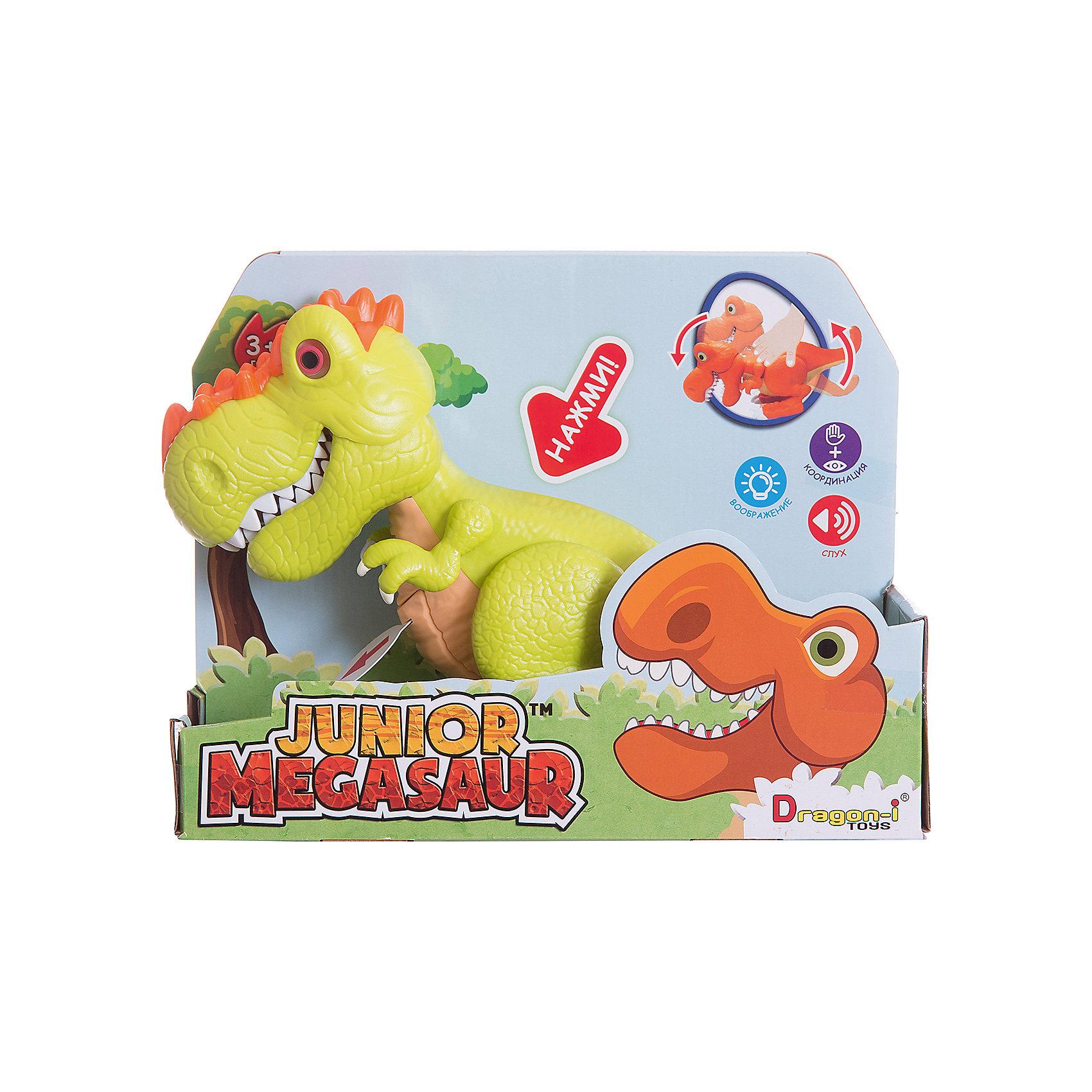Динозавр Ругопс, со светом и звуком, салатовый, Junior MegasaurДраконы и динозавры<br>Характеристики товара:<br><br>• возраст: от 3 лет;<br>• материал: пластик;<br>• цвет: салатовый;  <br>• тип батареек : 2 батарейки АА ;<br>• наличие батареек : демонстрационные батарейки;<br>• размер упаковки: 31х11х26 см;<br>• вес упаковки: 603 гр.;<br>•страна обладатель бренда: США.   <br><br>Динозавр Ругопс салатового цвета оснащен световыми и звуковыми эффектами: при наклоне корпуса динозавра у него будут светиться глаза, он зарычит и начнёт хлопать пастью. При этом динозавр может захватывать мелкие предметы со стала или с пола. Динозаврик рычит при нажатии на спину, при этом у него светятся глаза. <br><br>Игрушку динозавр «Ругопс» Junior Megasaur , со светом и звуком  можно приобрести в нашем интернет-магазине.<br><br>Ширина мм: 310<br>Глубина мм: 110<br>Высота мм: 240<br>Вес г: 603<br>Возраст от месяцев: 36<br>Возраст до месяцев: 2147483647<br>Пол: Мужской<br>Возраст: Детский<br>SKU: 6916229