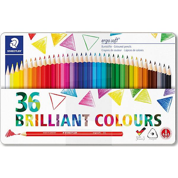 Карандаши цветные Ergosoft, 36 цветов, StaedtlerЦветные<br>Характеристики:<br><br>• возраст: от 5 лет<br>• в наборе: 36 разноцветных карандашей ярких цветов<br>• трехгранная форма<br>• материал корпуса: древесина<br>• диаметр: 3 мм.<br>• упаковка: металлическая коробка с подвесом<br>• размер упаковки: 29,2х18,3х1,1 см.<br>• вес: 442 гр.<br><br>Набор цветных карандашей Ergosoft, непременно, понравится юному художнику. Набор включает в себя 36 карандашей, ярких сочных цветов.<br><br>Карандаши имеют эргономичную трехгранную форму, очень мягкий и яркий грифель, уникальное нескользящее мягкое покрытие с полем для имени. Белое защитное покрытие ABS (Anti-break-system) защищает от поломки и сокращает ломкость грифеля.<br><br>Карандаши легко затачивать. Корпус карандашей изготовлен из древесины сертифицированных и специально подготовленных лесов, покрыт лаком на водной основе. Карандаши упакованы в металлическую коробку с подвесом.<br><br>Карандаши цветные Ergosoft, 36 цветов, Staedtler (Штедлер) можно купить в нашем интернет-магазине.<br>Ширина мм: 293; Глубина мм: 187; Высота мм: 15; Вес г: 455; Возраст от месяцев: 60; Возраст до месяцев: 144; Пол: Унисекс; Возраст: Детский; SKU: 6918890;