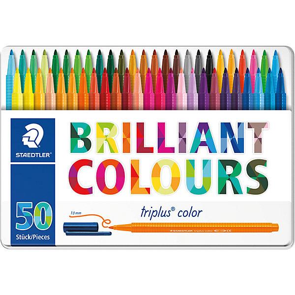 Набор фломастеров Triplus Color, 50 цветов, 1 мм, StaedtlerФломастеры<br>Характеристики:<br><br>• возраст: от 3 лет<br>• в наборе: 50 разноцветных фломастеров ярких цветов<br>• трехгранный корпус<br>• чернила на водной основе<br>• материал корпуса: полипропилен<br>• толщина линии: приблизительно 1 мм.<br>• упаковка: металлическая  коробка с подвесом<br>• размер упаковки: 17,9х31,2х3,9 см.<br>• вес: 706 гр.<br><br>Набор фломастеров Triplus Color - это 50 ярких фломастеров разных цветов с эргономичным трехгранным корпусом для легкого и удобного письма и рисования.<br><br>Фломастеры имеют прочный, устойчивый к нажиму пишущий узел, вентилируемый колпачок. Чернила на водной основе отстирываются с большинства поверхностей. Фломастеры без колпачка, в открытом состоянии не высыхают несколько дней (тест ISO 554). Корпус и колпачок из полипропилена гарантируют долгий срок службы.<br><br>Набор фломастеров Triplus Color, 50 цветов, 1 мм, Staedtler (Штедлер) можно купить в нашем интернет-магазине.<br>Ширина мм: 312; Глубина мм: 177; Высота мм: 43; Вес г: 740; Возраст от месяцев: 60; Возраст до месяцев: 120; Пол: Унисекс; Возраст: Детский; SKU: 6918896;