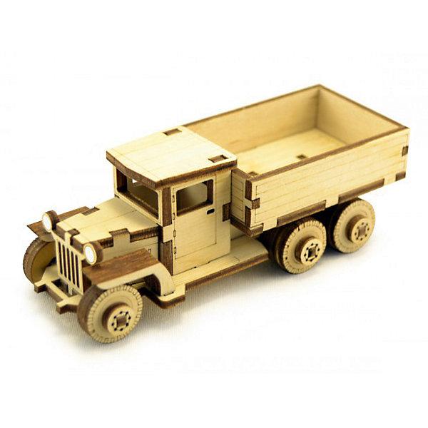 Деревянный  3D конструктор подвижный Советский грузовик ЗИС-5В, LemmoДеревянные конструкторы<br>Характеристики товара:<br><br>• количество деталей: 49;<br>• в комплекте: детали, клей ПВА, наждачная бумага, инструкция;<br>• материал: дерево;<br>• размер упаковки: 5х4,5х12 см;<br>• вес: 70 грамм;<br>• возраст: от 5 лет.<br>• страна производства: Россия<br><br>Деревянный 3D конструктор - увлекательное и полезное занятие для детей от пяти лет. Игра с таким конструктором способствует развитию логики, пространственного мышления, предметного моделирования и моторики рук. Детали конструктора выполнены из качественной древесины с приятным, насыщенным древесным запахом.<br><br>В набор входят 49 деталей, клей ПВА, наждачная бумага и инструкция с иллюстрациями. Внимательно изучив инструкцию, ребенок сможет собрать уменьшенную копию советского грузовика ЗИС-5В с вращающимися колесами. Готовую игрушку можно раскрасить гуашью или акриловыми красками.<br><br>Деревянный  3D конструктор подвижный Советский грузовик ЗИС-5В, Lemmo (Леммо) можно купить в нашем интернет-магазине.<br><br>Ширина мм: 120<br>Глубина мм: 45<br>Высота мм: 50<br>Вес г: 70<br>Возраст от месяцев: 60<br>Возраст до месяцев: 2147483647<br>Пол: Мужской<br>Возраст: Детский<br>SKU: 6918922