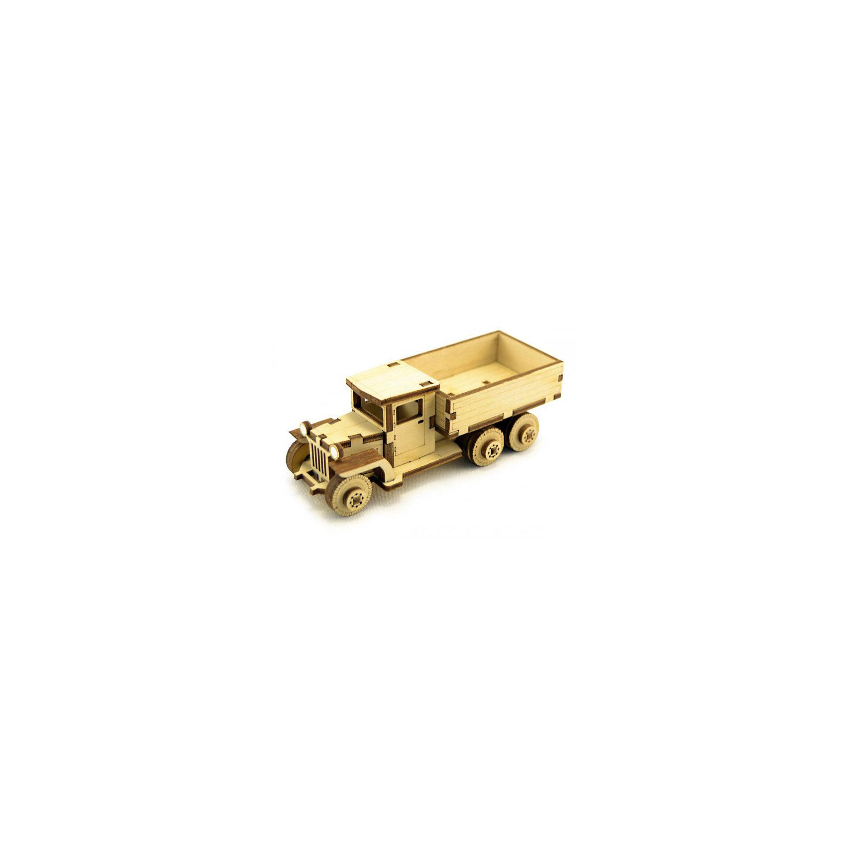 Деревянный  3D конструктор подвижный Советский грузовик ЗИС-5В, LemmoДеревянные модели<br>Характеристики товара:<br><br>• количество деталей: 49;<br>• в комплекте: детали, клей ПВА, наждачная бумага, инструкция;<br>• материал: дерево;<br>• размер упаковки: 5х4,5х12 см;<br>• вес: 70 грамм;<br>• возраст: от 5 лет.<br>• страна производства: Россия<br><br>Деревянный 3D конструктор - увлекательное и полезное занятие для детей от пяти лет. Игра с таким конструктором способствует развитию логики, пространственного мышления, предметного моделирования и моторики рук. Детали конструктора выполнены из качественной древесины с приятным, насыщенным древесным запахом.<br><br>В набор входят 49 деталей, клей ПВА, наждачная бумага и инструкция с иллюстрациями. Внимательно изучив инструкцию, ребенок сможет собрать уменьшенную копию советского грузовика ЗИС-5В с вращающимися колесами. Готовую игрушку можно раскрасить гуашью или акриловыми красками.<br><br>Деревянный  3D конструктор подвижный Советский грузовик ЗИС-5В, Lemmo (Леммо) можно купить в нашем интернет-магазине.<br><br>Ширина мм: 120<br>Глубина мм: 45<br>Высота мм: 50<br>Вес г: 70<br>Возраст от месяцев: 60<br>Возраст до месяцев: 2147483647<br>Пол: Мужской<br>Возраст: Детский<br>SKU: 6918922